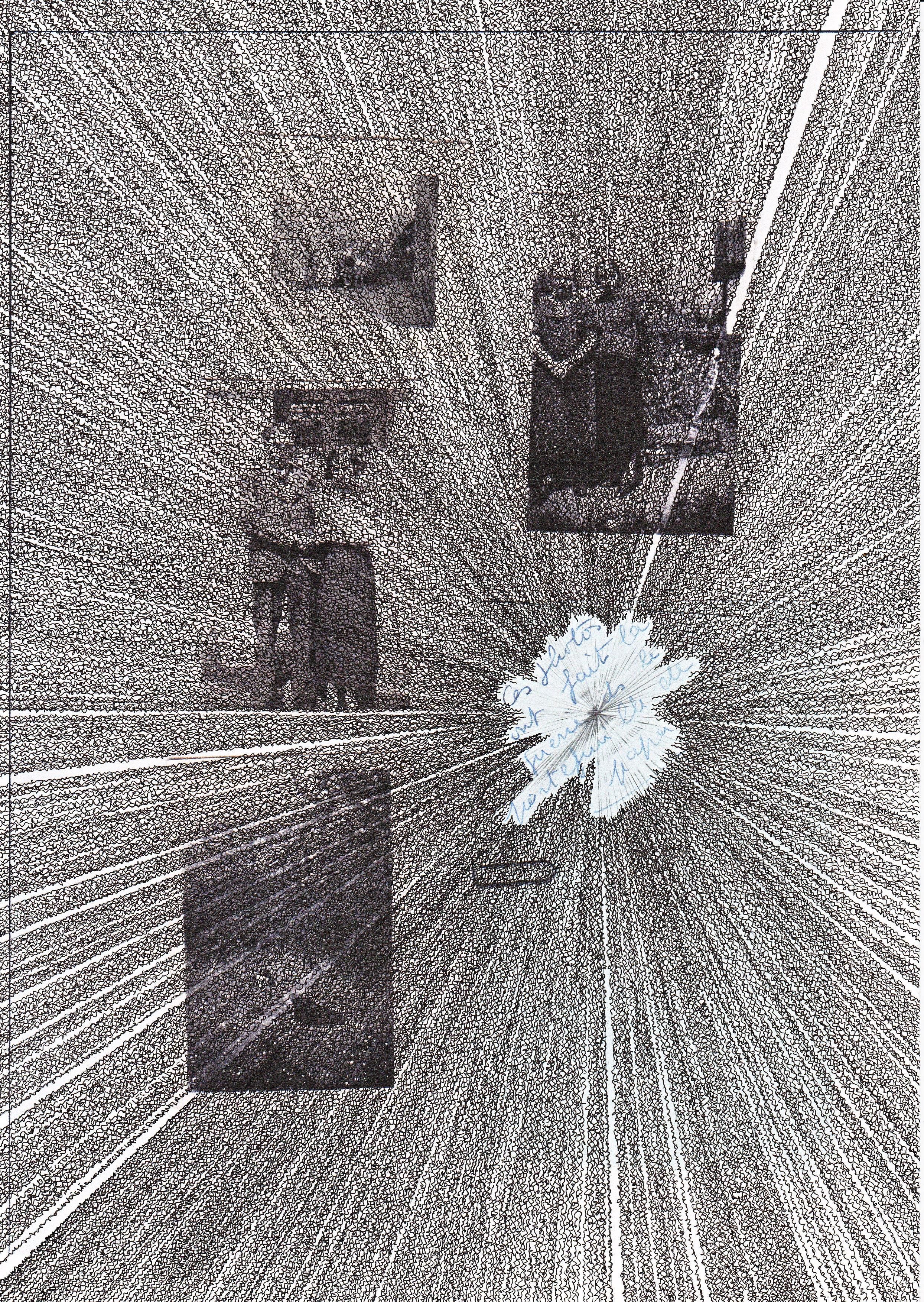 """Nicolas Aiello, """"Strates"""", encre de Chine, crayon et impression jet d'encre sur papier, 21x29,7 cm, 2016."""