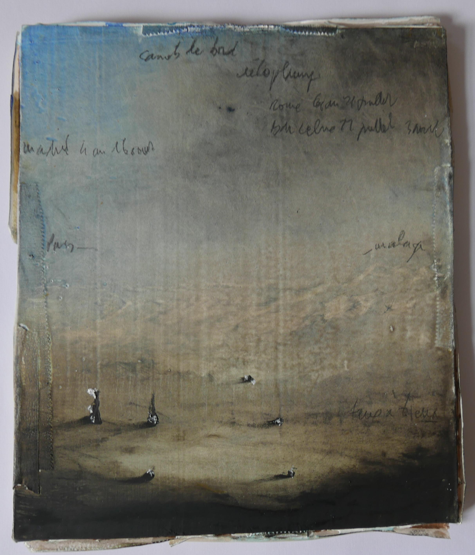 """Jean-Christophe Norman, """"Walks (cardboard)"""", techniques mixtes sur carton, 2018."""