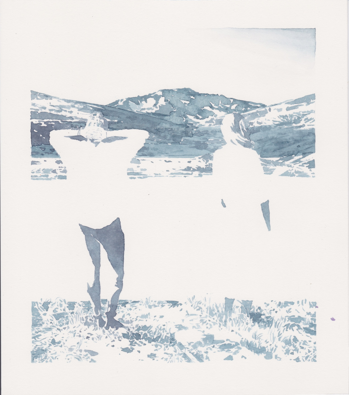 """Michael Rampa, """"Small Baptism"""", aquarelle sur papier, 24.5x21.7cm, 2018"""