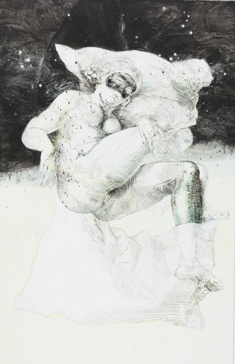 """Elisabeth Llach, """"Die Nacht"""", acrylique sur toile, 106x165 cm, 2017."""