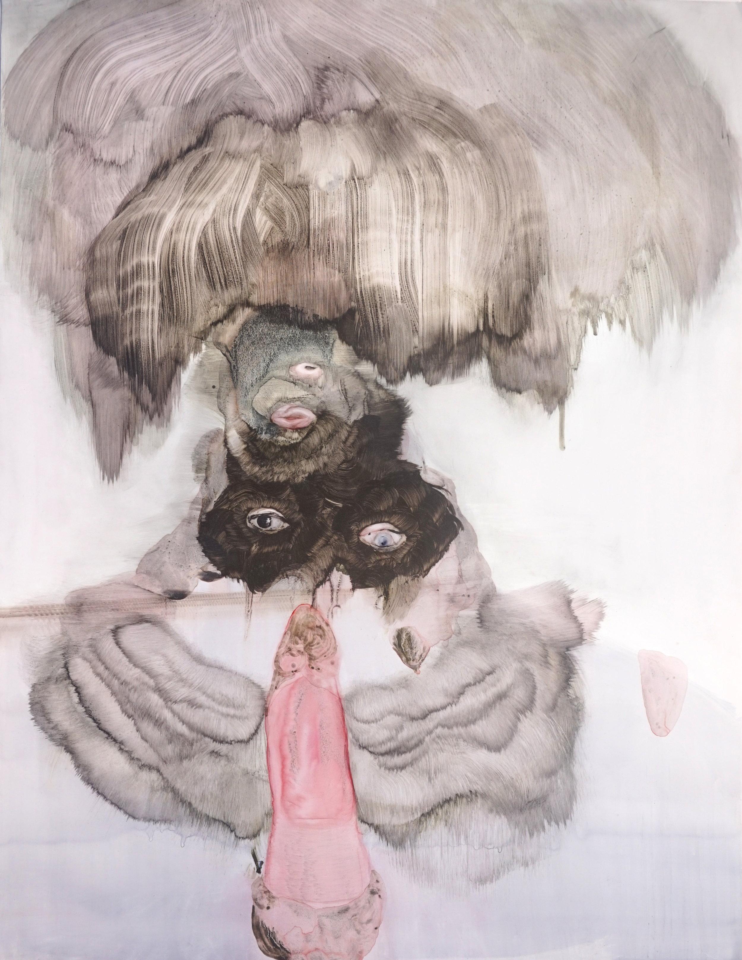 """Anya Belyat Giunta, """"Hey Georges! #1"""", 51x66 cm, encre, crayon liquide, aquarelle et graphite sur papier synthétique, 2017."""