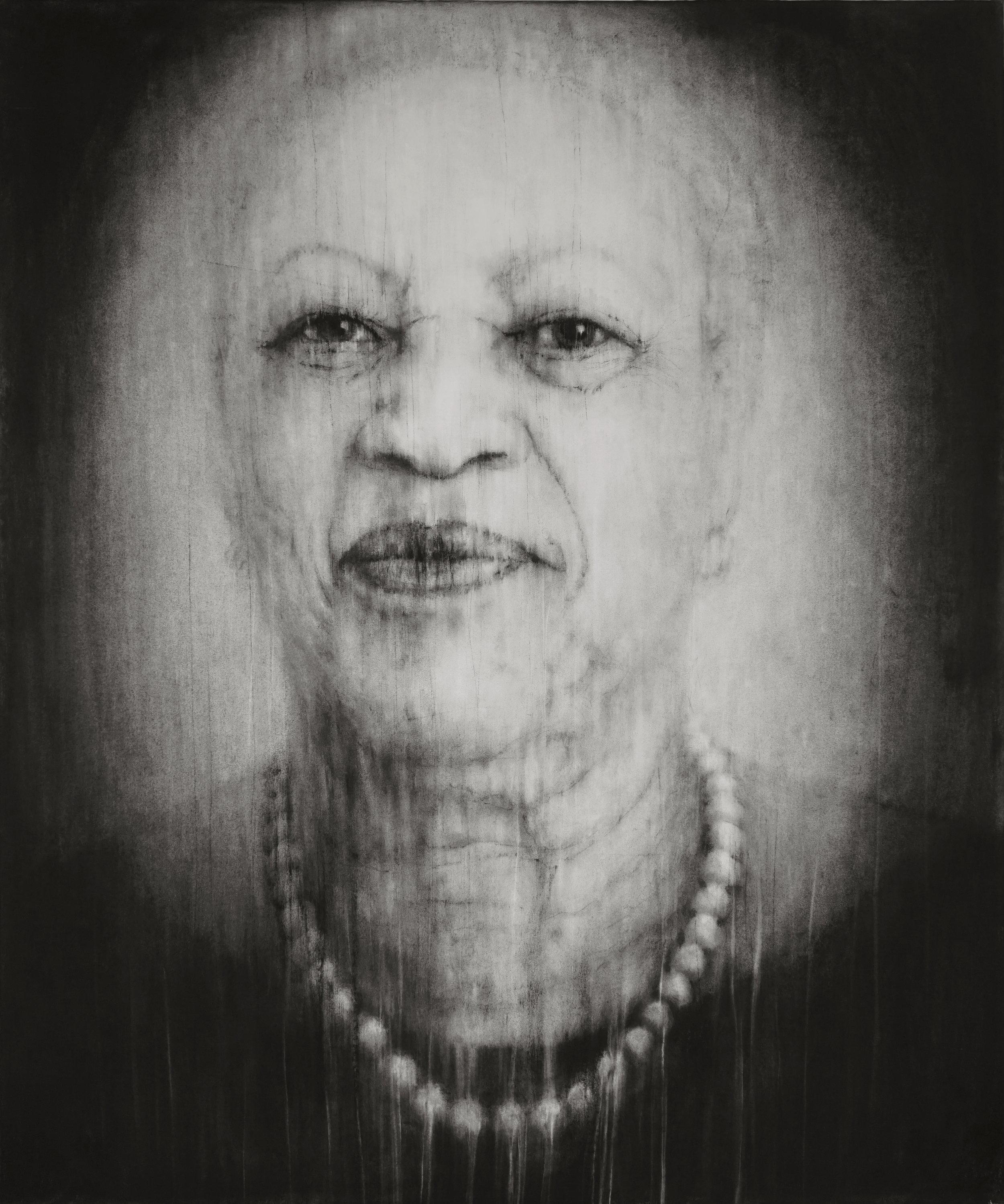 """Guy Oberson, """"Saving Daylight (Toni Morrison)"""", pierre noire sur papier, 138x165 cm, 2017"""