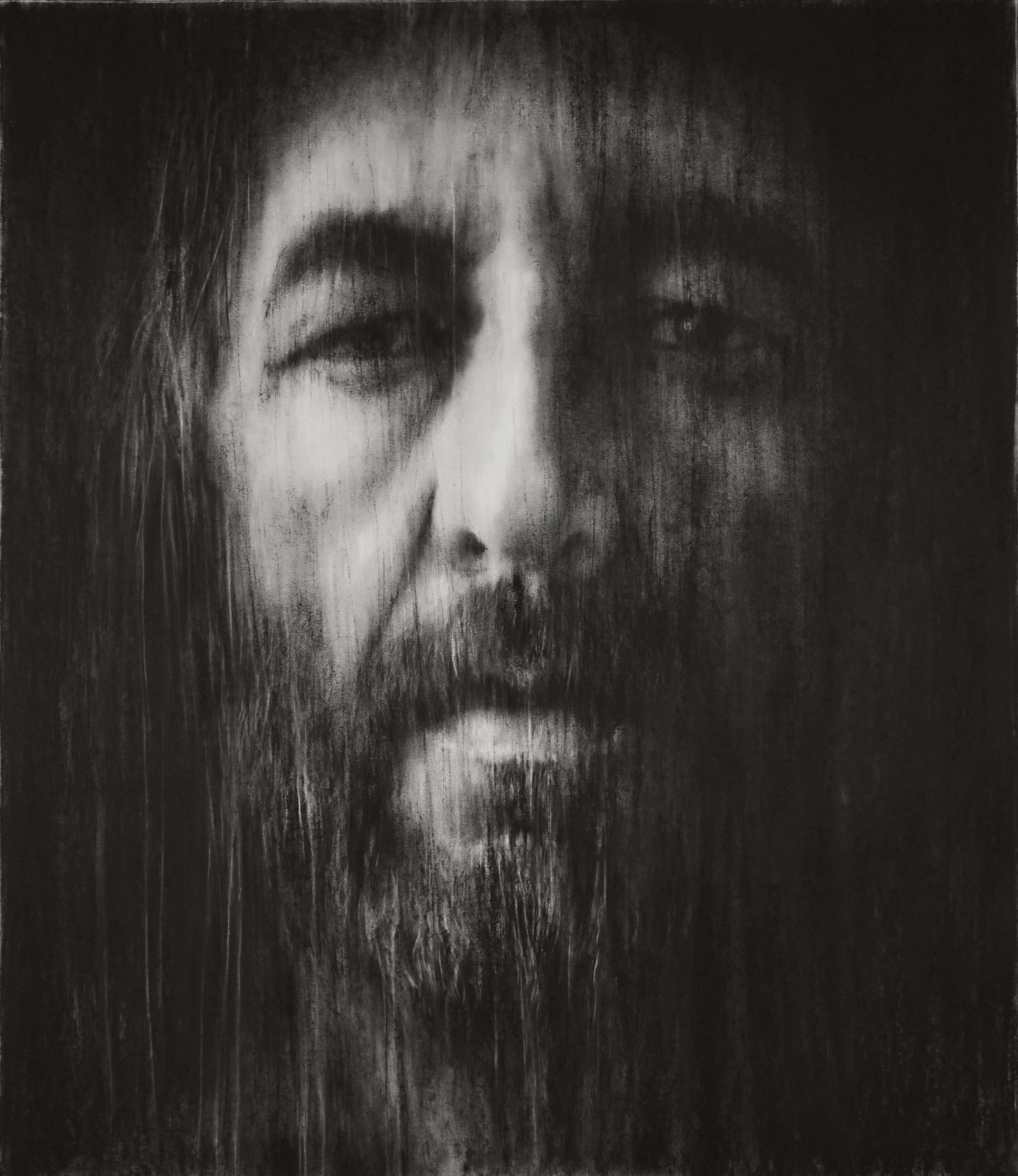 """Guy Oberson, """"Arthur H"""", pierre noire sur papier, 120x140 cm, 2017"""