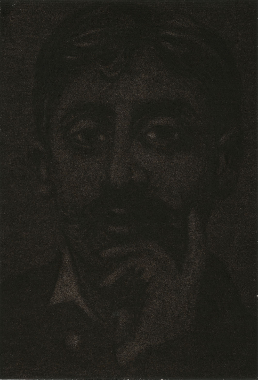 """Jérémie Bennequin, """"Le Fantôme"""", 15x10,5 cm, fusain et pastel sec sur papier, 2017."""