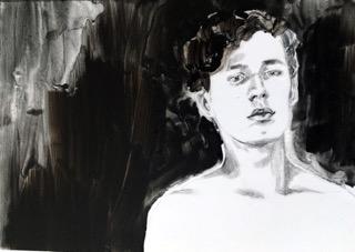 """Damien Comment, """"D. pensif"""", acrylique, crayon de papier sur polyester, 21×29,7 cm, 2018."""