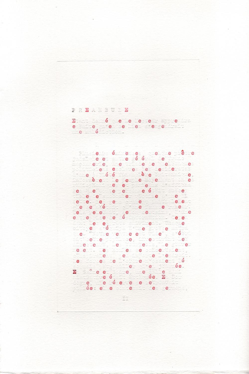 """Jérémie Bennequin, """"La Disparition, """"Préambule"""", 7 pages (29,7x21 cm chacune), dactylographie rouge et frappes vides sur papier vélin, 2018."""