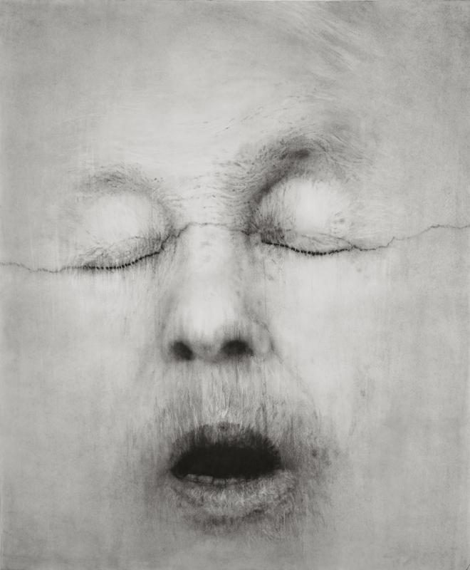 """Guy Oberson, """"Alice Neel after Mapplethorpe"""", pierre noire sur papier, 165x138 cm, 2017."""
