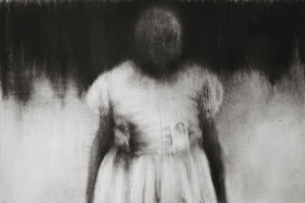 """Guy Oberson, """"Paysage d'un dimanche honteux"""", pierre noire sur papier, 60x90 cm, 2017."""
