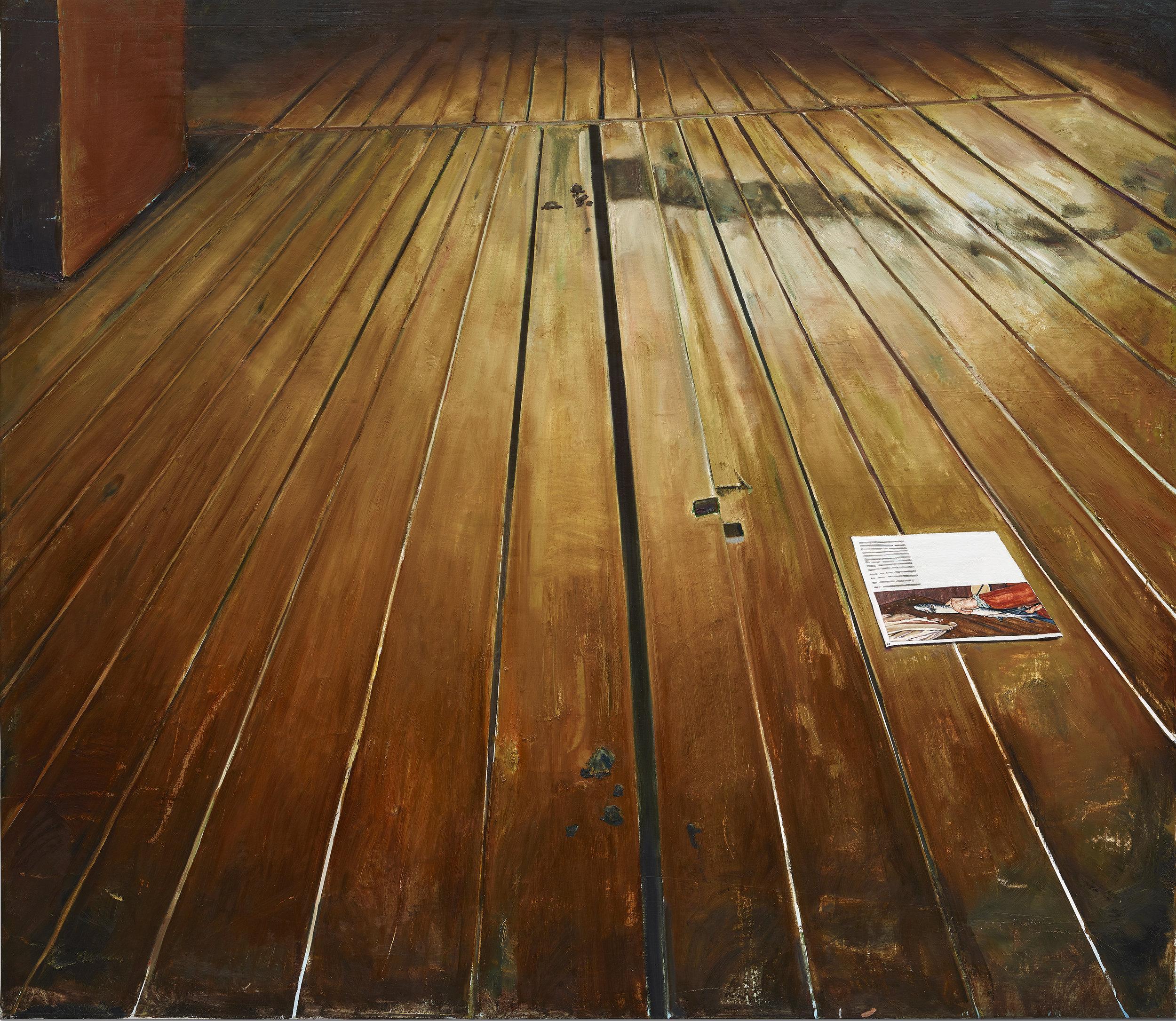 """Léopold Rabus, """"Pêche en Haute-Ariège"""", huile sur toile, 2017."""