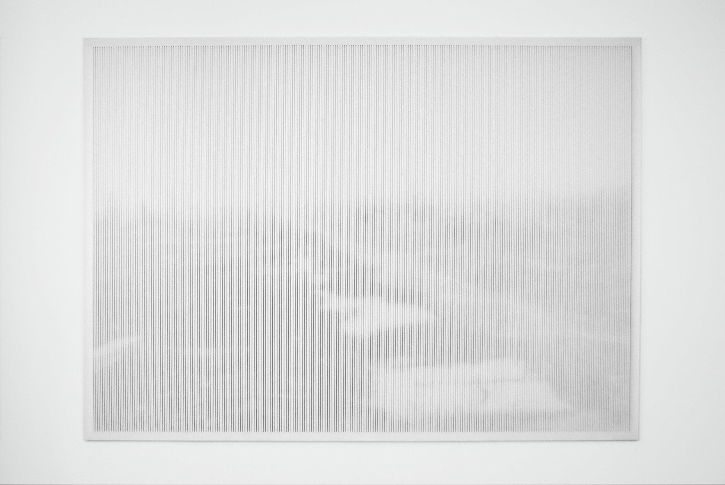"""Xavier Bauer, Sans titre, de la série """"Temps long"""",  encre pigmentaire sur banner, découpe effectuée manuellement par l'artiste 188x136cm, 2015."""