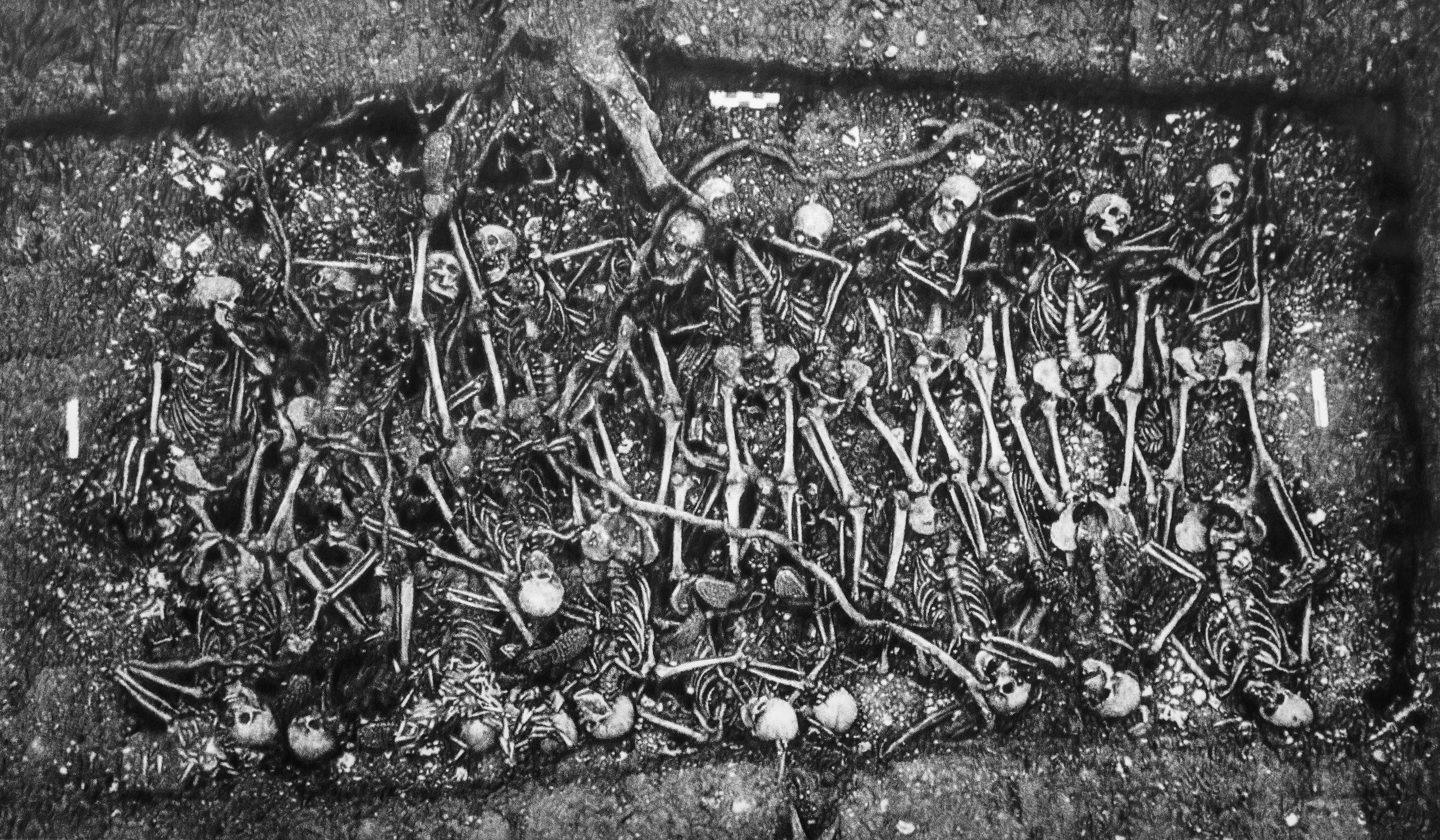 Éric Manigaud, « Tranchée de Calonne », graphite sur papier, encadrement avec verre clair, 140×220 cm, 2013.