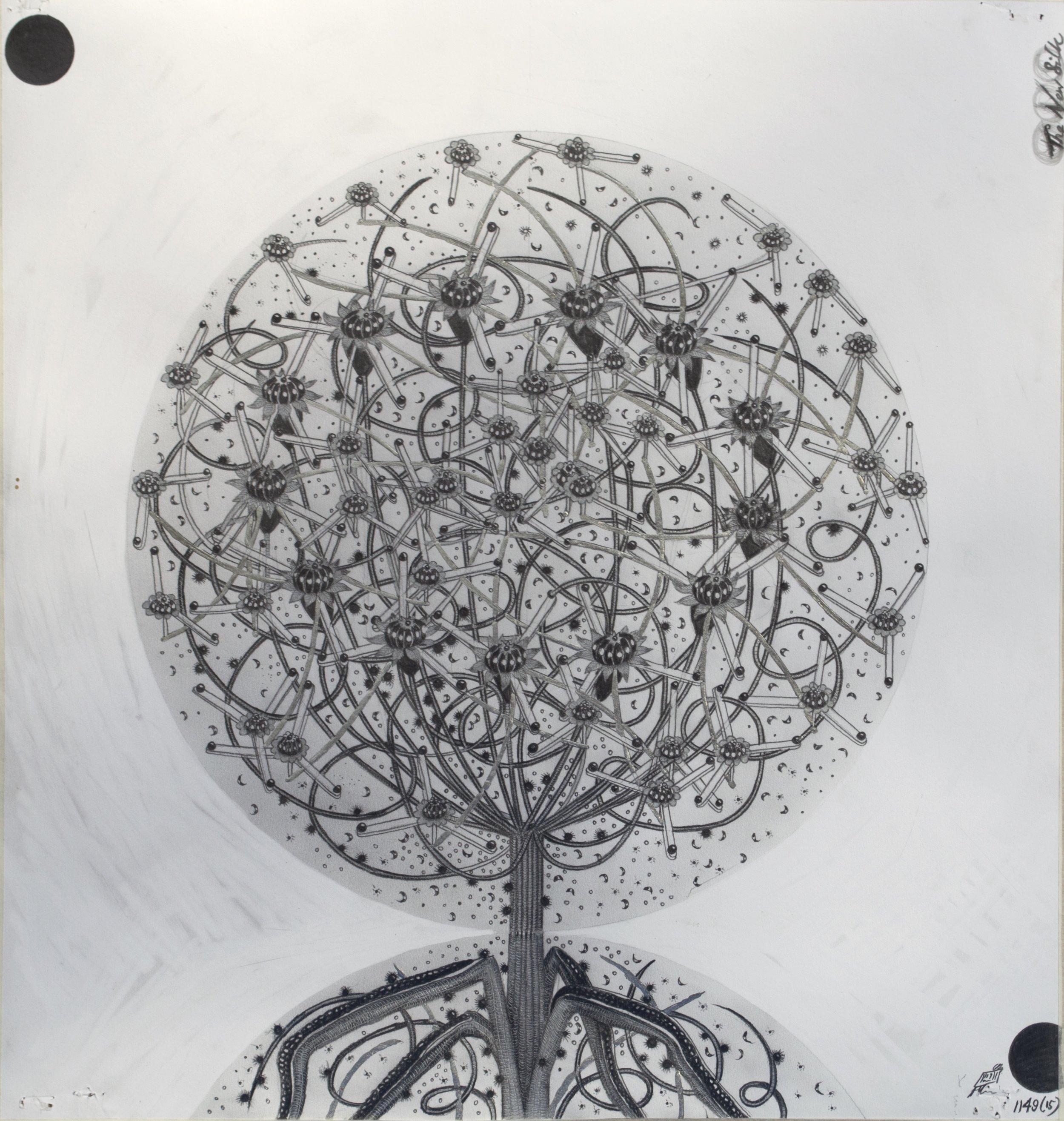 """© Hipkiss, """"1149 - Capitule 15"""", 40x36 cm, mine de plomb, encre argentée et feuille d'or blanc sur papier Fabriano 4, 2018, Courtesy Galerie C"""