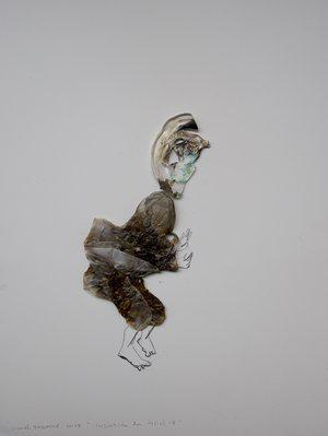"""© Lionel Sabatté, """"Injustice du 10/10/18"""", plastique brûlé, crayon, matériaux divers, 40x30 cm, 2018, Courtesy Galerie C"""