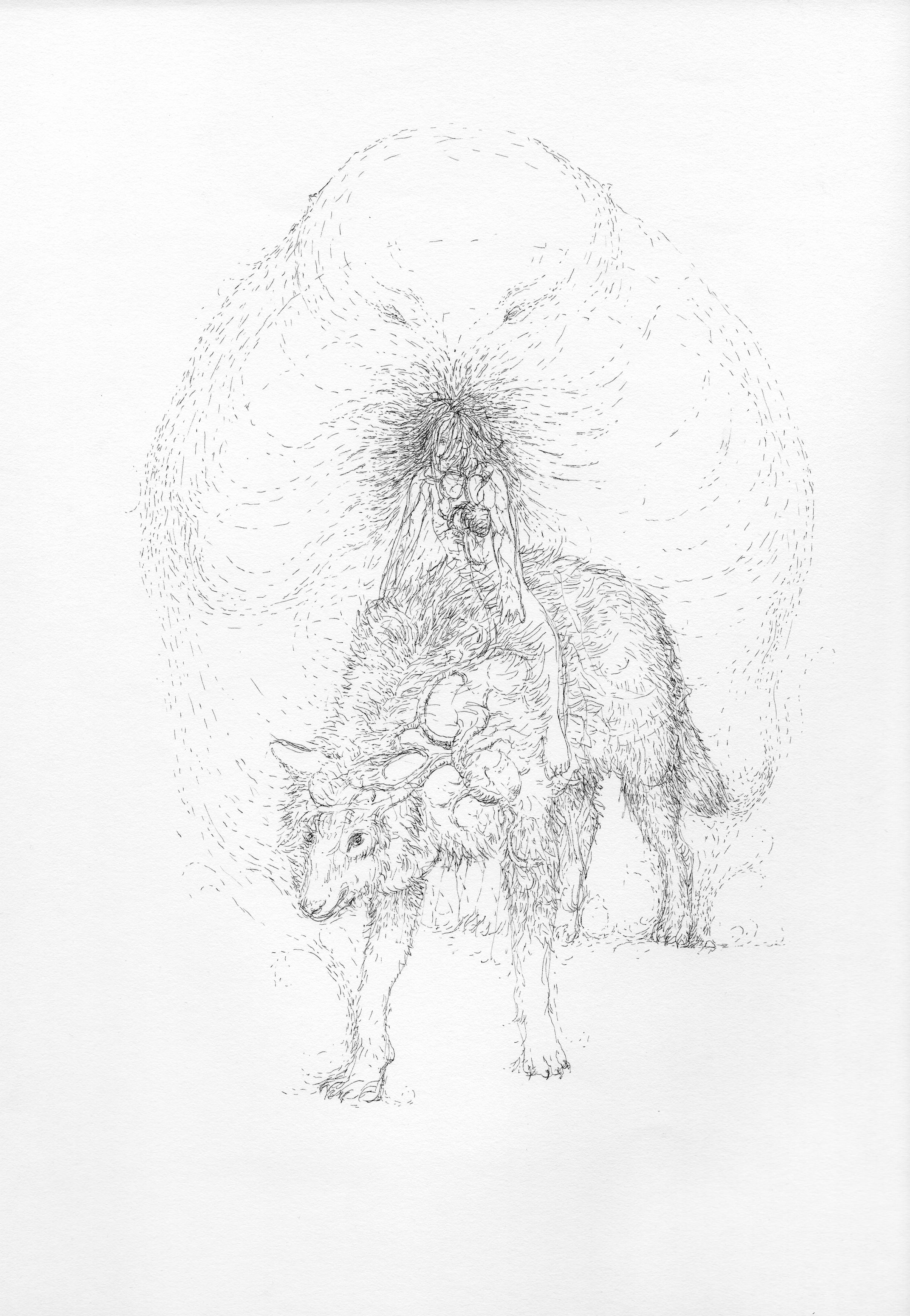 """© Nicolas Darrot, """"Sans titre"""" (082), encre de Chine sur papier, 39,7x42 cm, 2019."""