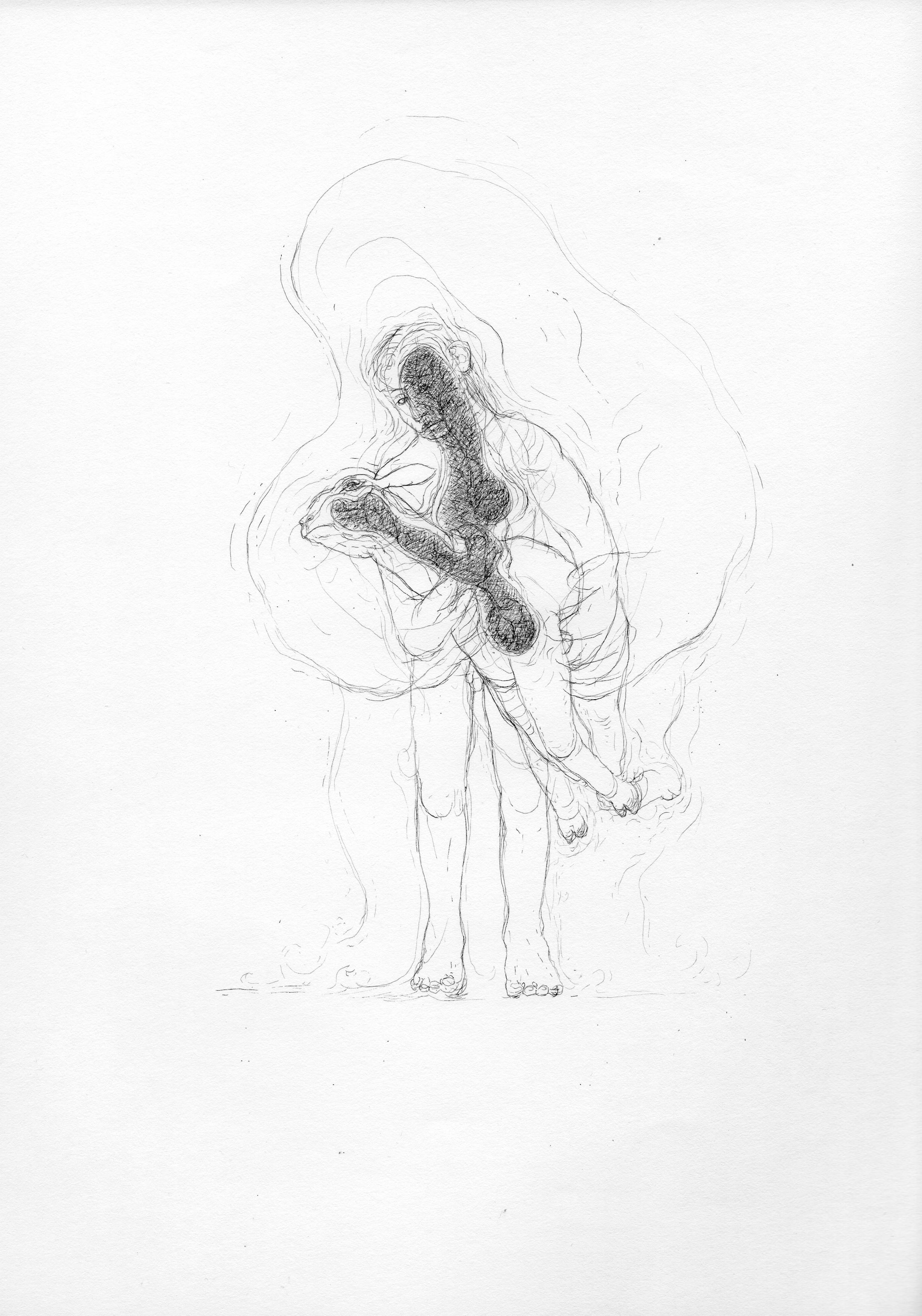 """© Nicolas Darrot, """"Sans titre"""" (084), encre de Chine sur papier, 39,7x42 cm, 2019."""