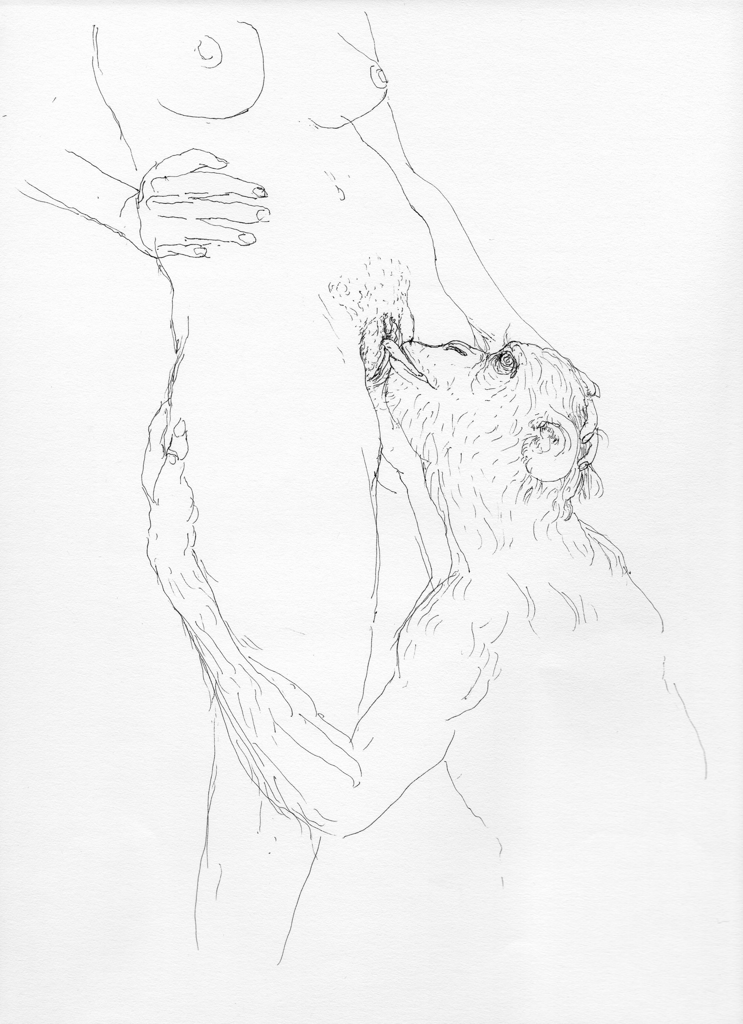 """© Nicolas Darrot, """"Sans titre"""" (093), encre de Chine sur papier, 39,7x42 cm, 2017."""