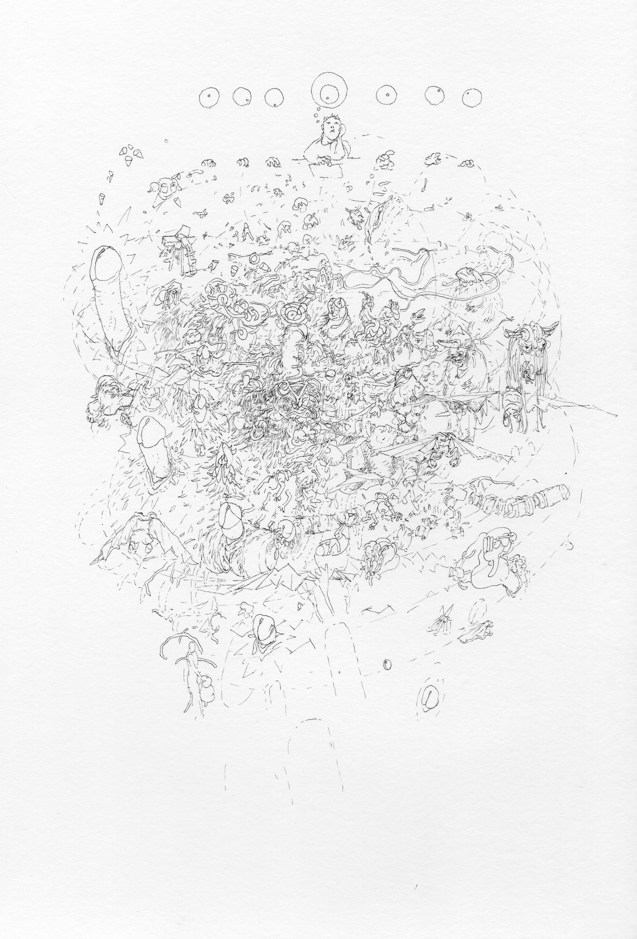 """© Nicolas Darrot, """"Sans titre"""" (097), encre de Chine sur papier, 39,7x42 cm, 2019."""