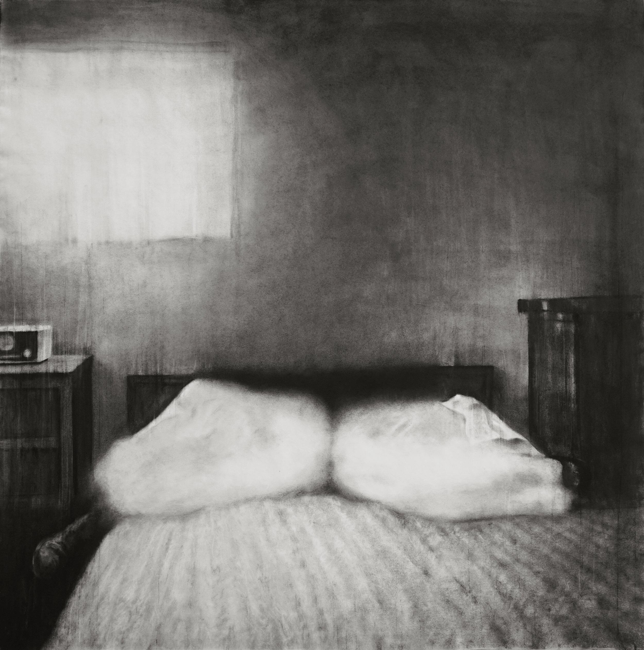 """Guy Oberson, """"Love Identity 6"""", pierre noire sur papier, 150x150 cm, 2019."""