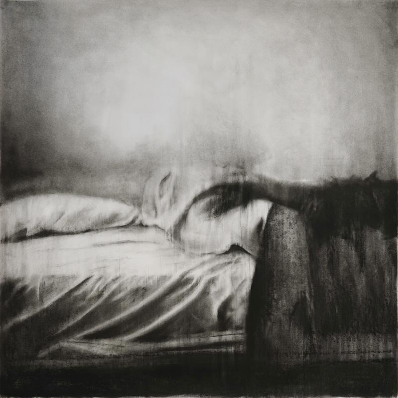 """Guy Oberson, """"Love Identity 4"""", pierre noire sur papier, 150x150 cm, 2017."""