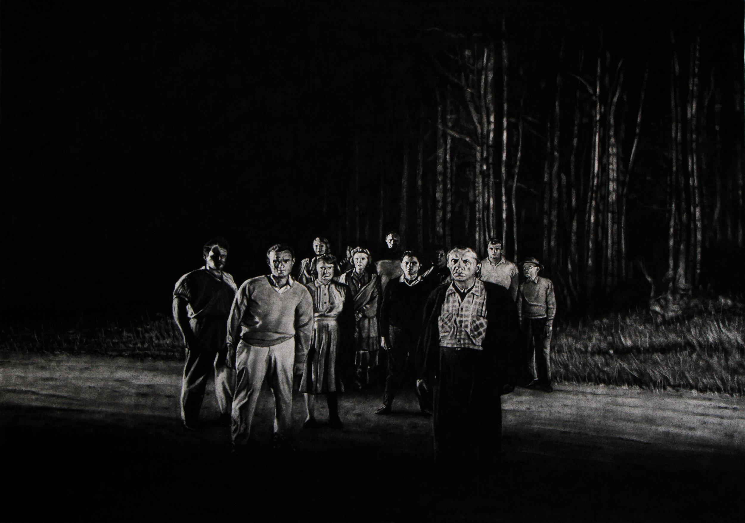 """Mathieu Dufois, """"L'éclipse 06"""", dessin à la pierre noire, 75x106 cm, 2014."""