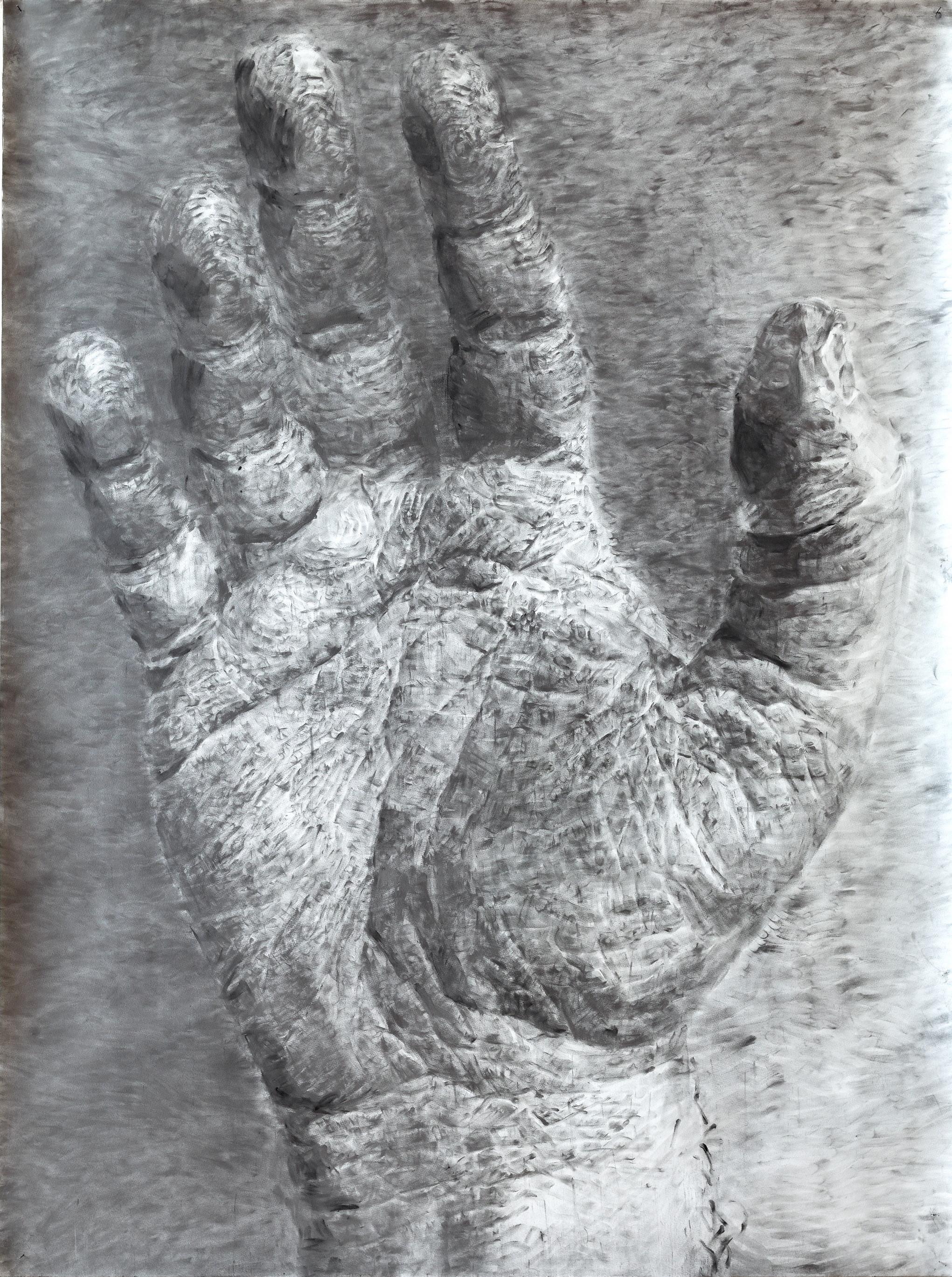 """Jérôme Zonder, """"Portrait de main 1"""", charcoal powder and graphite powder on paper, 200x150 cm, 2018. Courtesy de l'artiste et de la Galerie Nathalie Obadia, Paris/Bruxelles. Crédit photo / Marc Domage"""