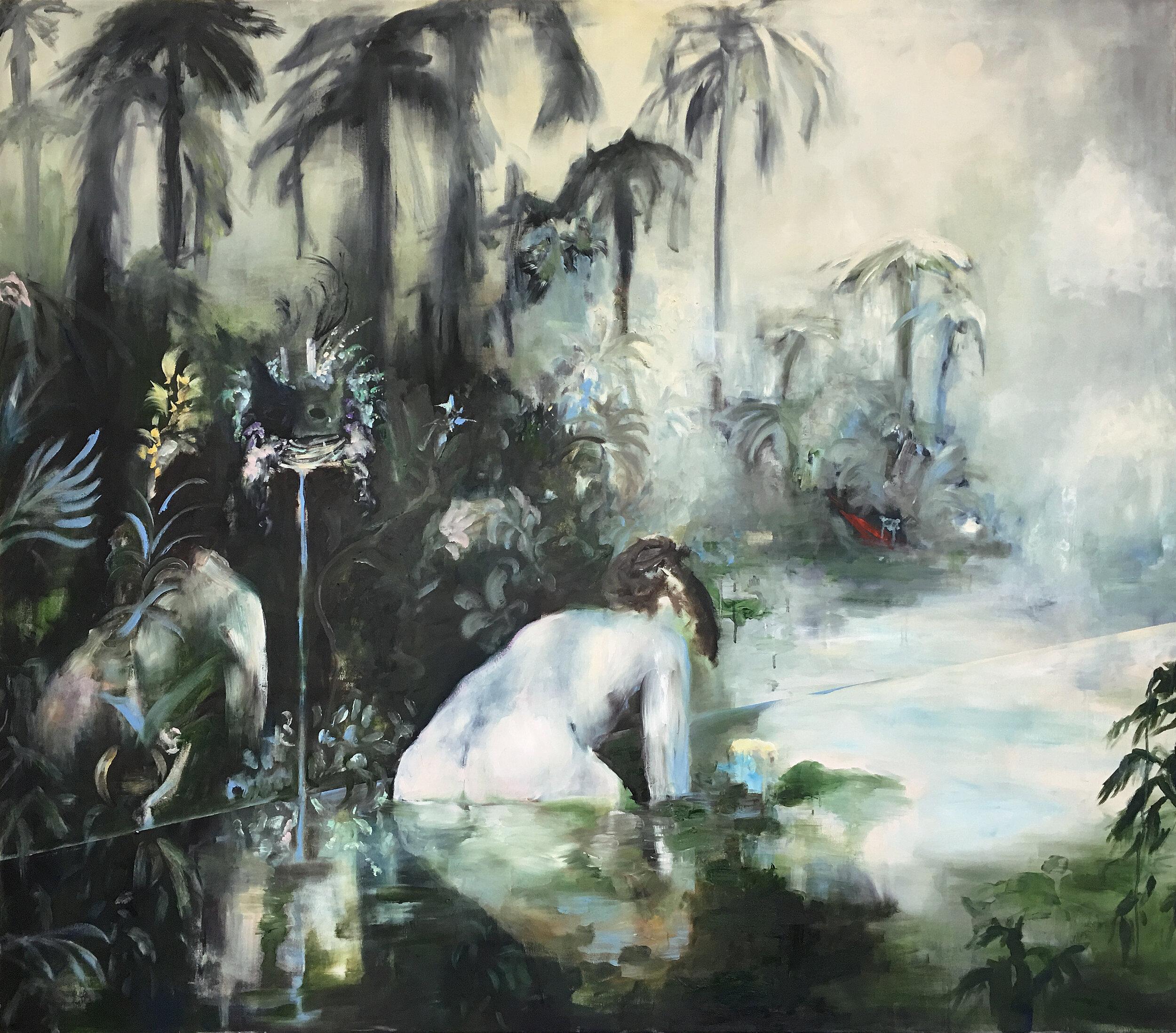 "Emeli Theander, ""In a wilderness of heartbreak"", huile sur toile, 150x170 cm, 2019."