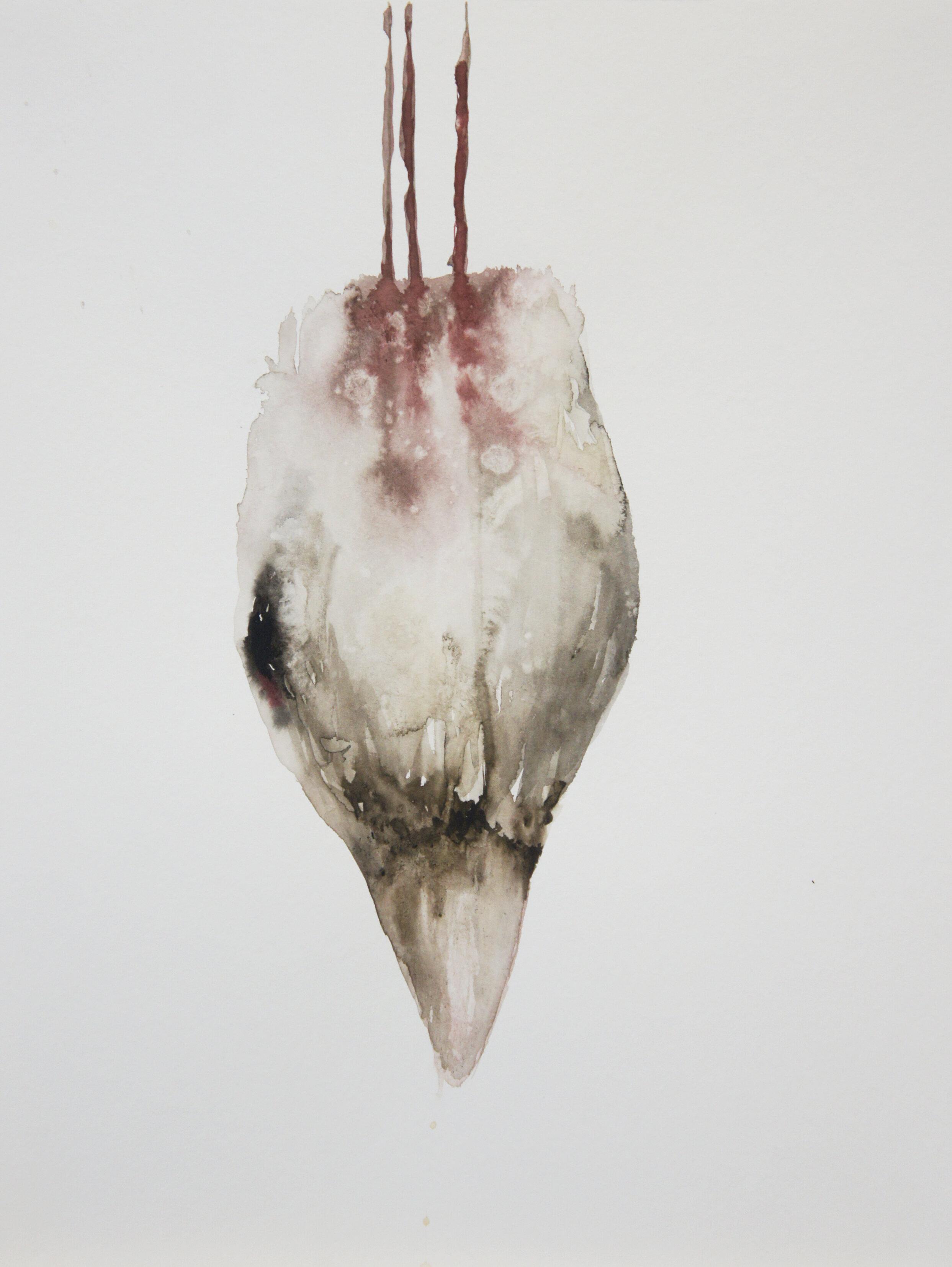 """Guy Oberson, """"Bird"""", aquarelle sur papier bambou, 32x24 cm, 2015."""