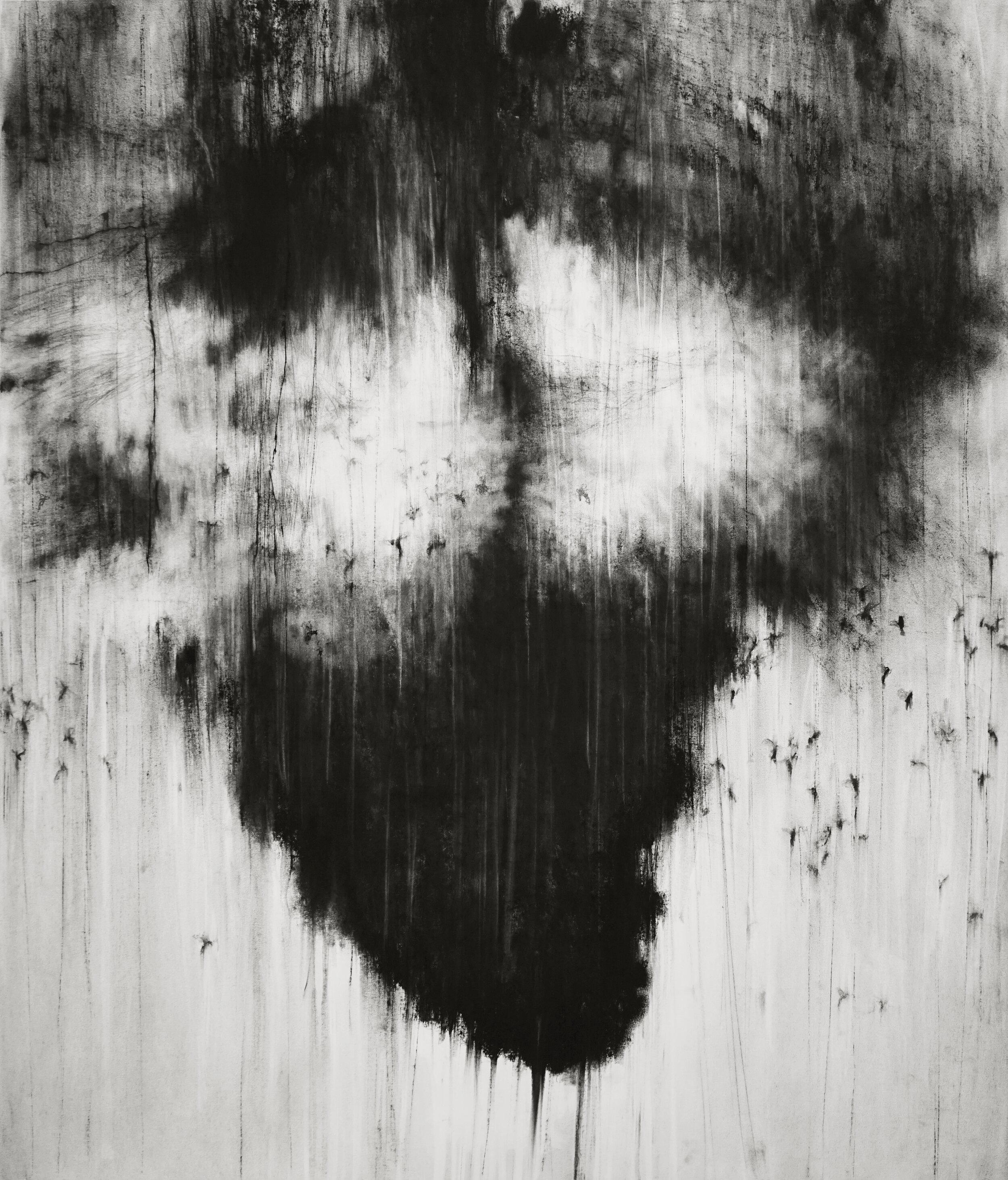 """Guy Oberson, """"The Last Nesting I"""", pierre noire sur papier, 136x116 cm, 2015."""