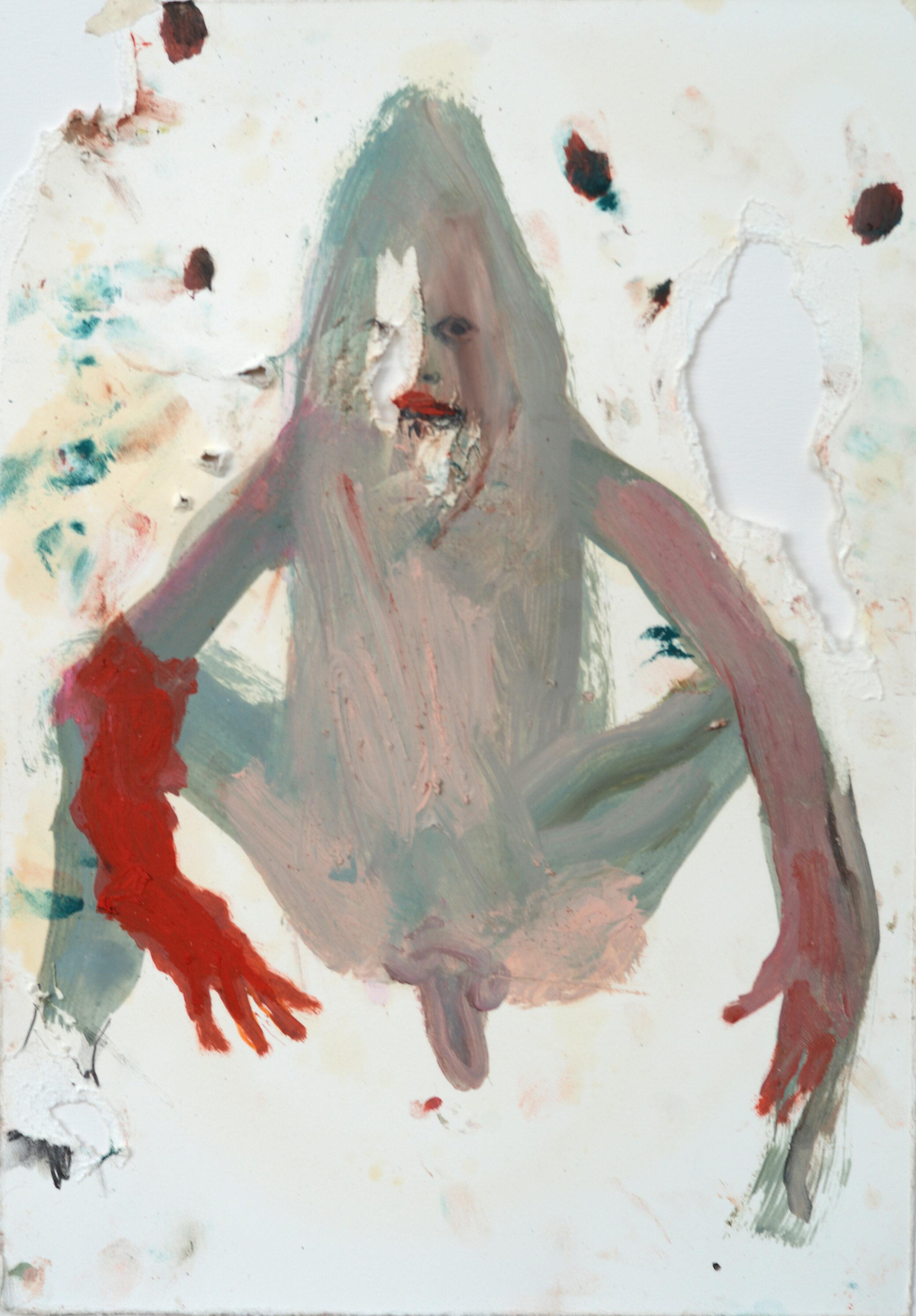 """Sarah Jérôme, """"Forget me not 3"""", technique mixte sur papier, 39,5x30 cm, 2019."""
