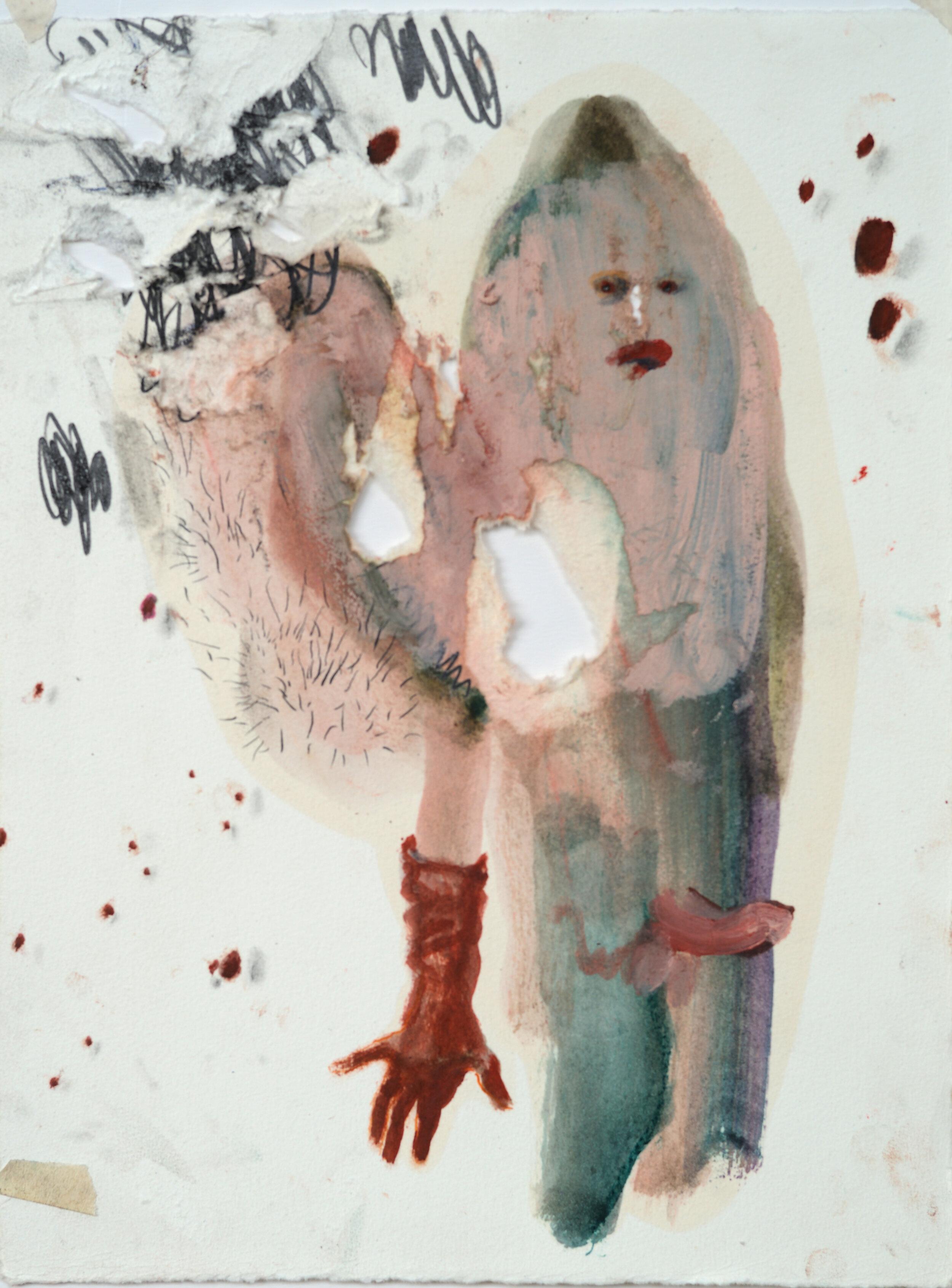 """Sarah Jérôme, """"Forget me not 4"""", technique mixte sur papier, 39,5x30 cm, 2019."""
