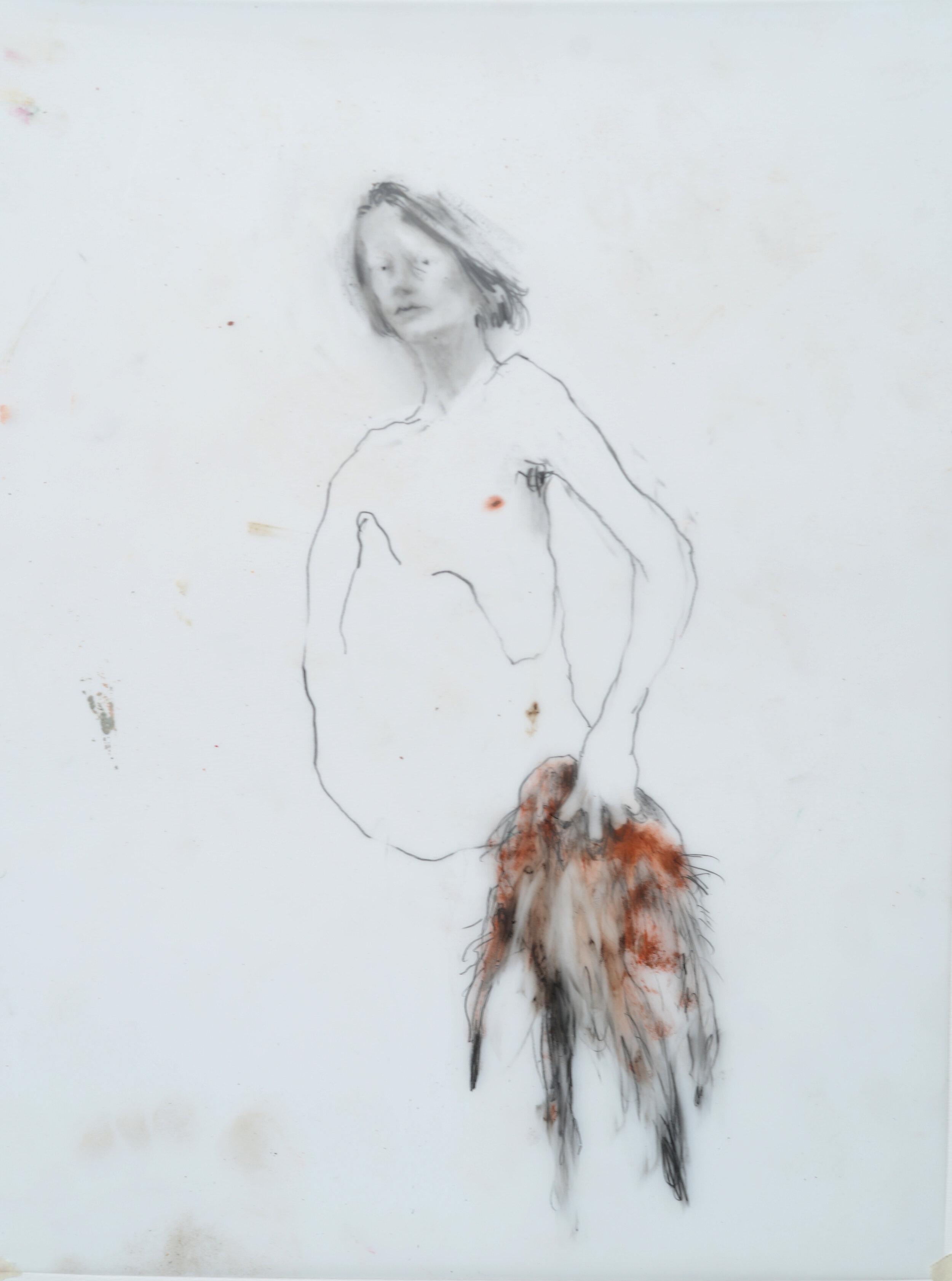 """Sarah Jérôme, """"Look at you 2"""", technique mixte sur calque, 39,5x30 cm, 2019."""