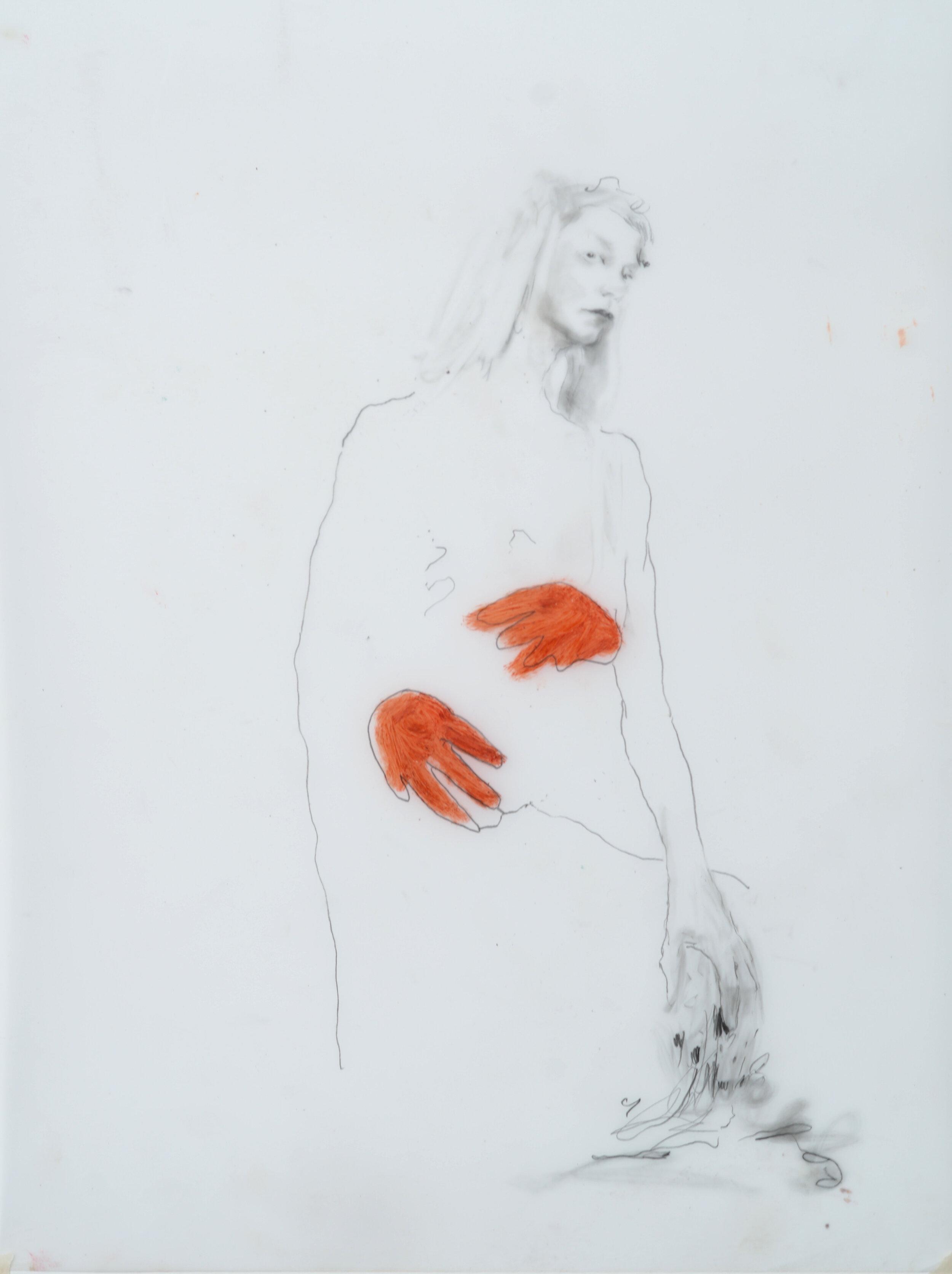 """Sarah Jérôme, """"Look at you 5"""", technique mixte sur calque, 39,5x30 cm, 2019."""