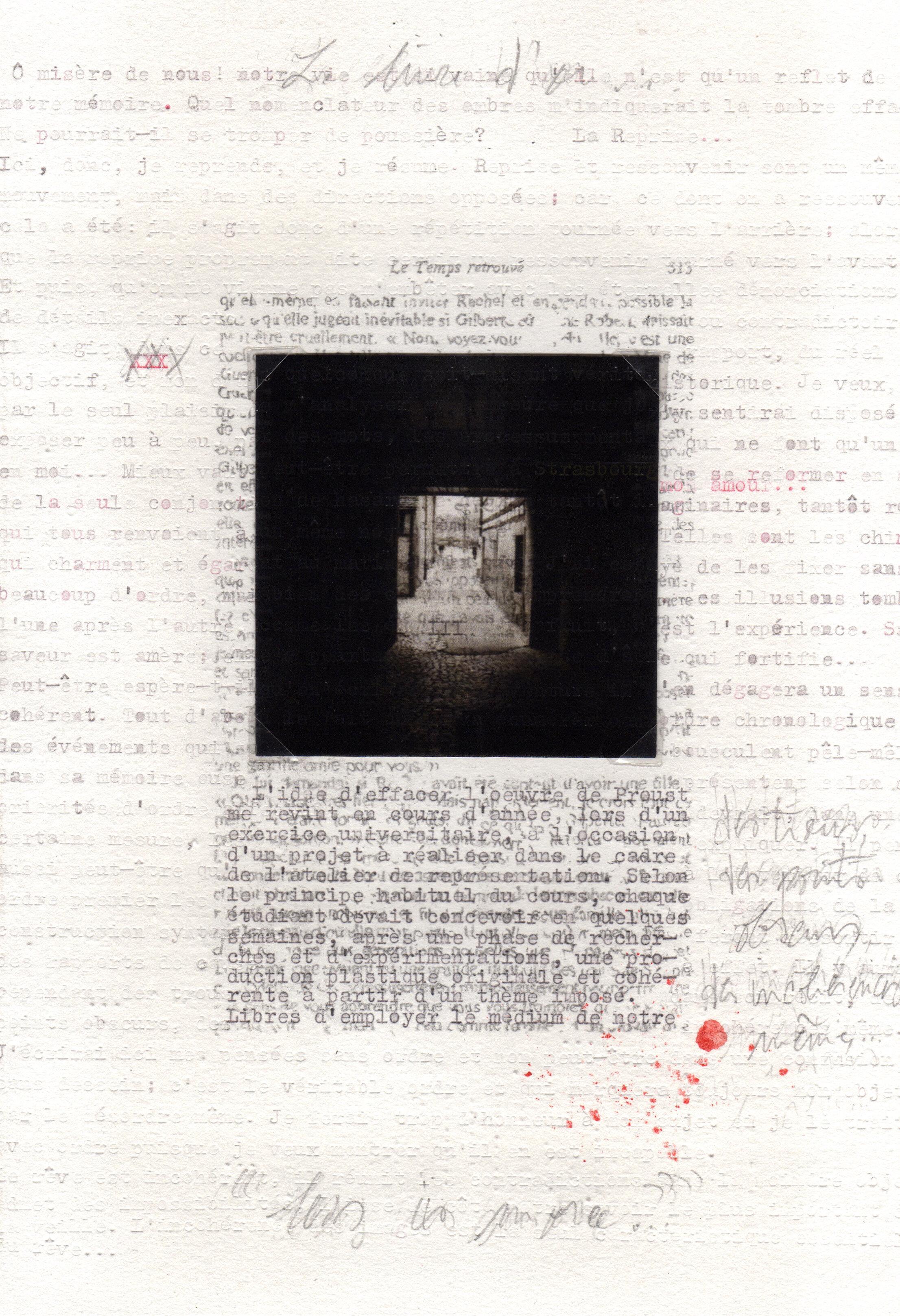 Palimpseste 021, 2019, 19,5 x 28 cm, impression photographique, graphite, encre tapuscrite et pigment sur papier