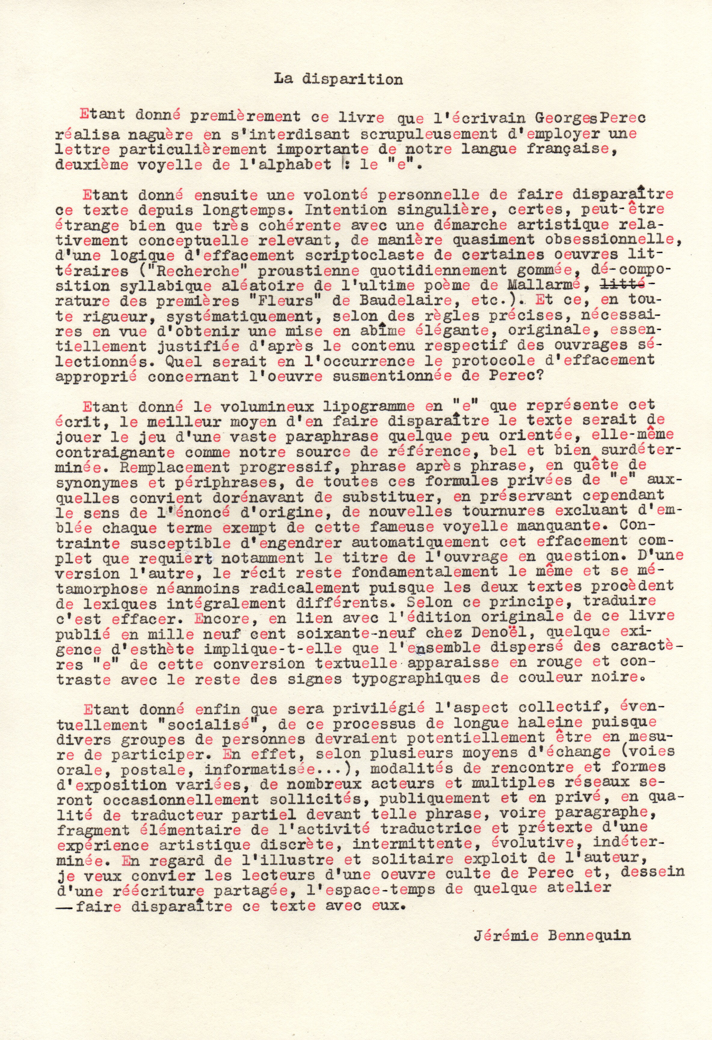 L'e-disparition, statement, 2018, tapuscrit en rouge et noir, 29 x 20 cm