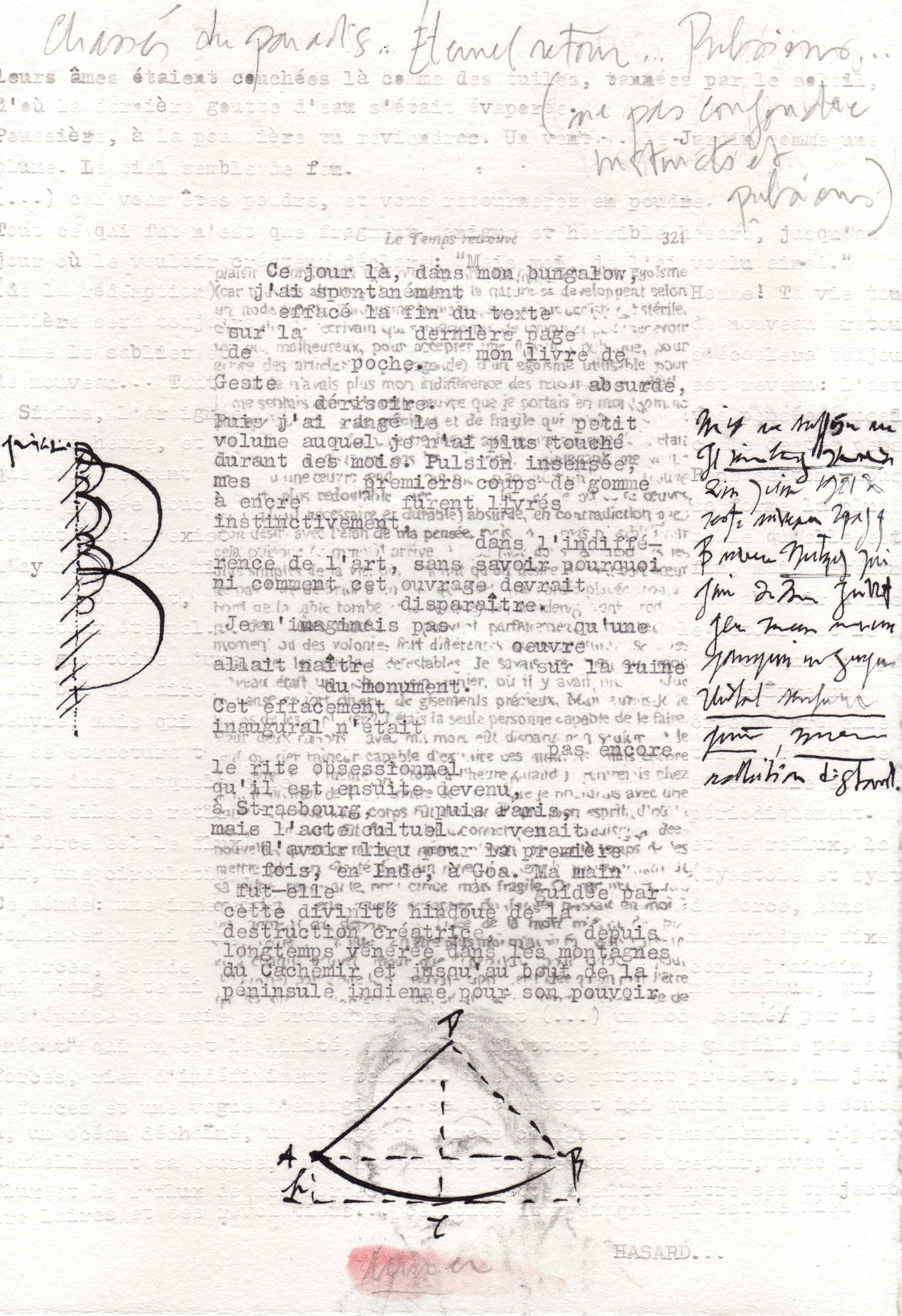Palimpseste 013, 2019, 19,5 x 28 cm, graphite, tapuscrit, encre de chine et pigment sur papier