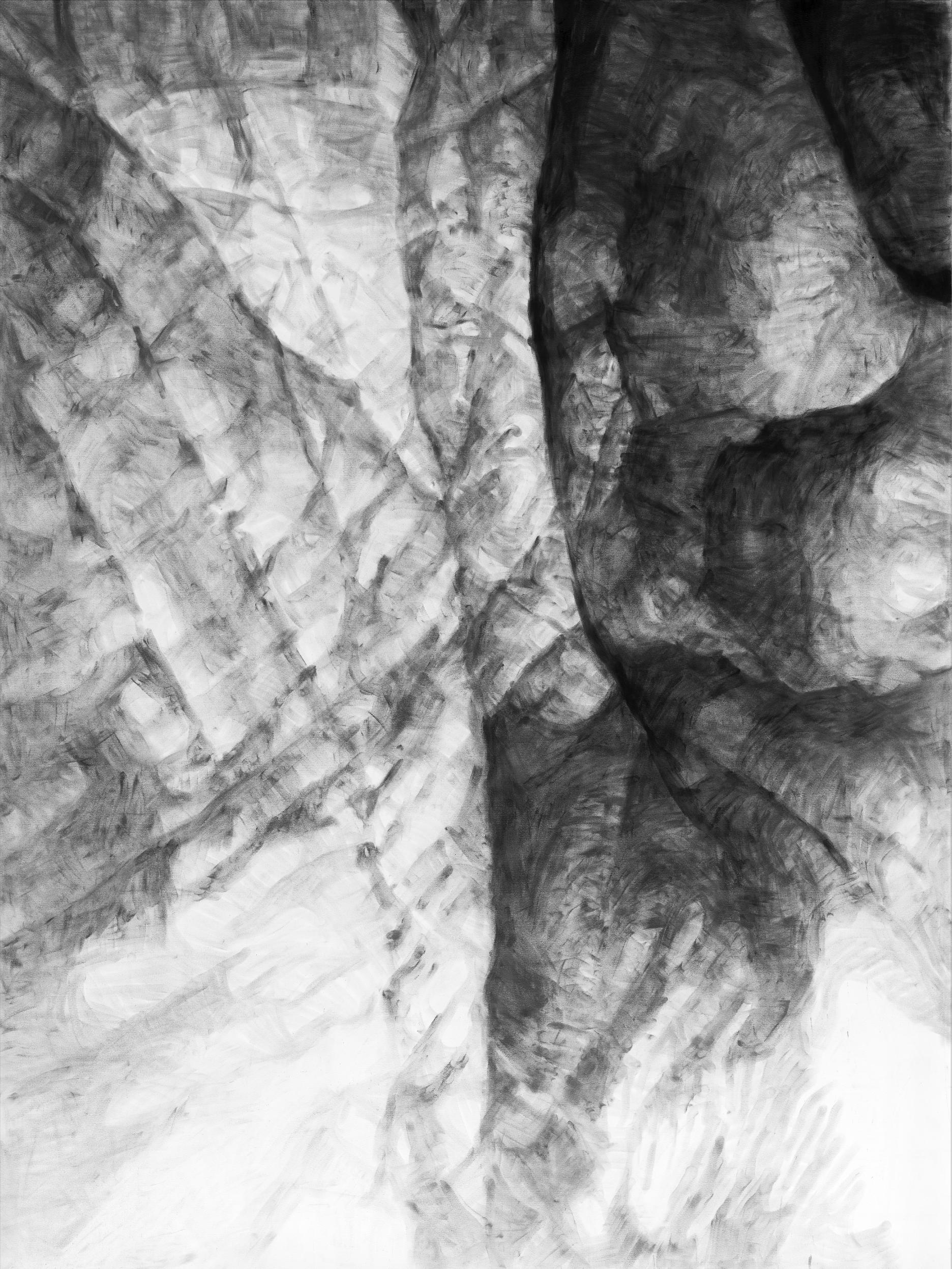 """Jérôme Zonder, """"Portrait de main 4"""", poudre de graphite et poudre de fusain sur papier, 200x150 cm, 2018."""