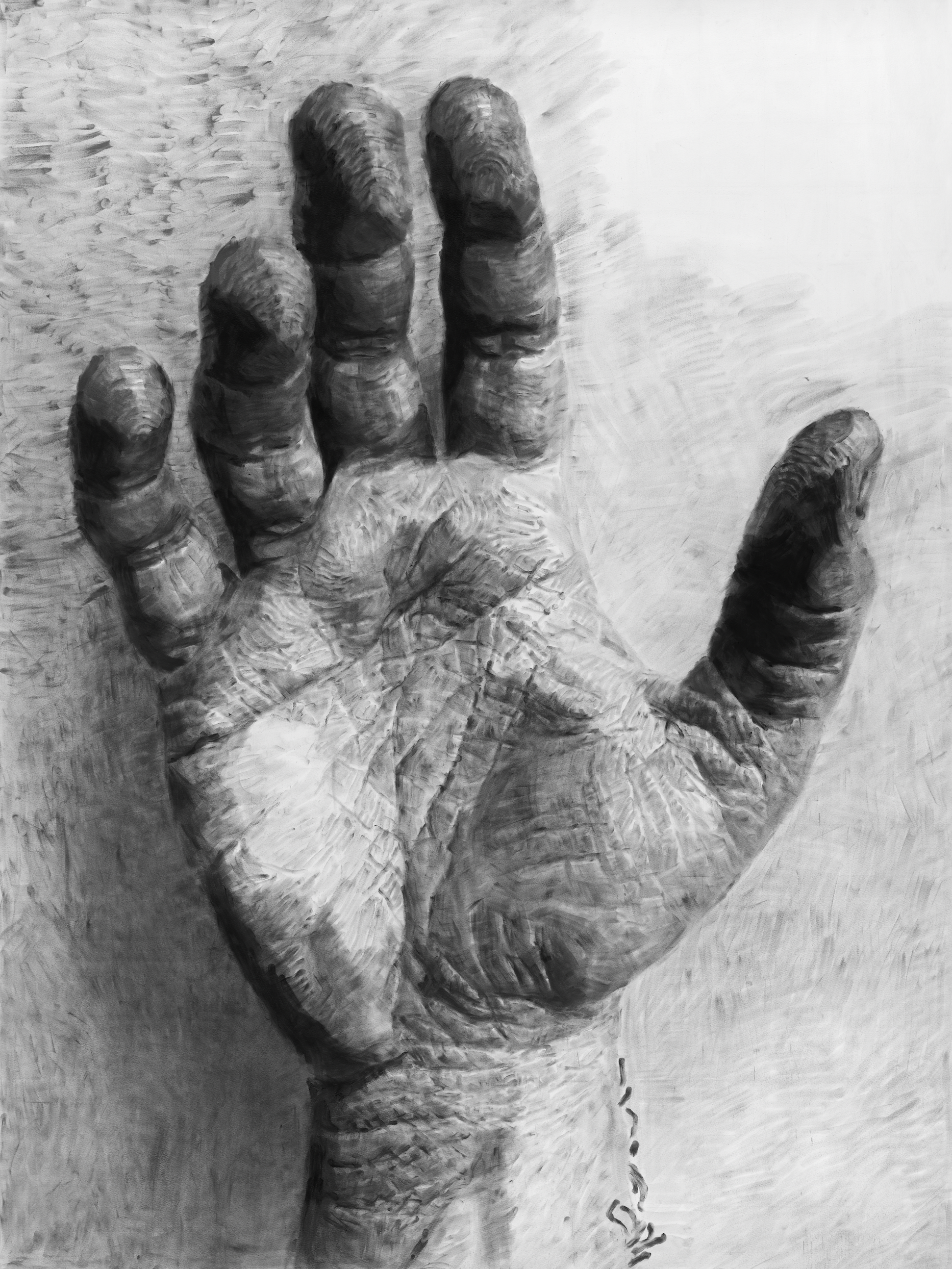 """Jérôme Zonder, """"Portrait de main 3"""", poudre de graphite et poudre de fusain sur papier, 200x150 cm, 2018."""