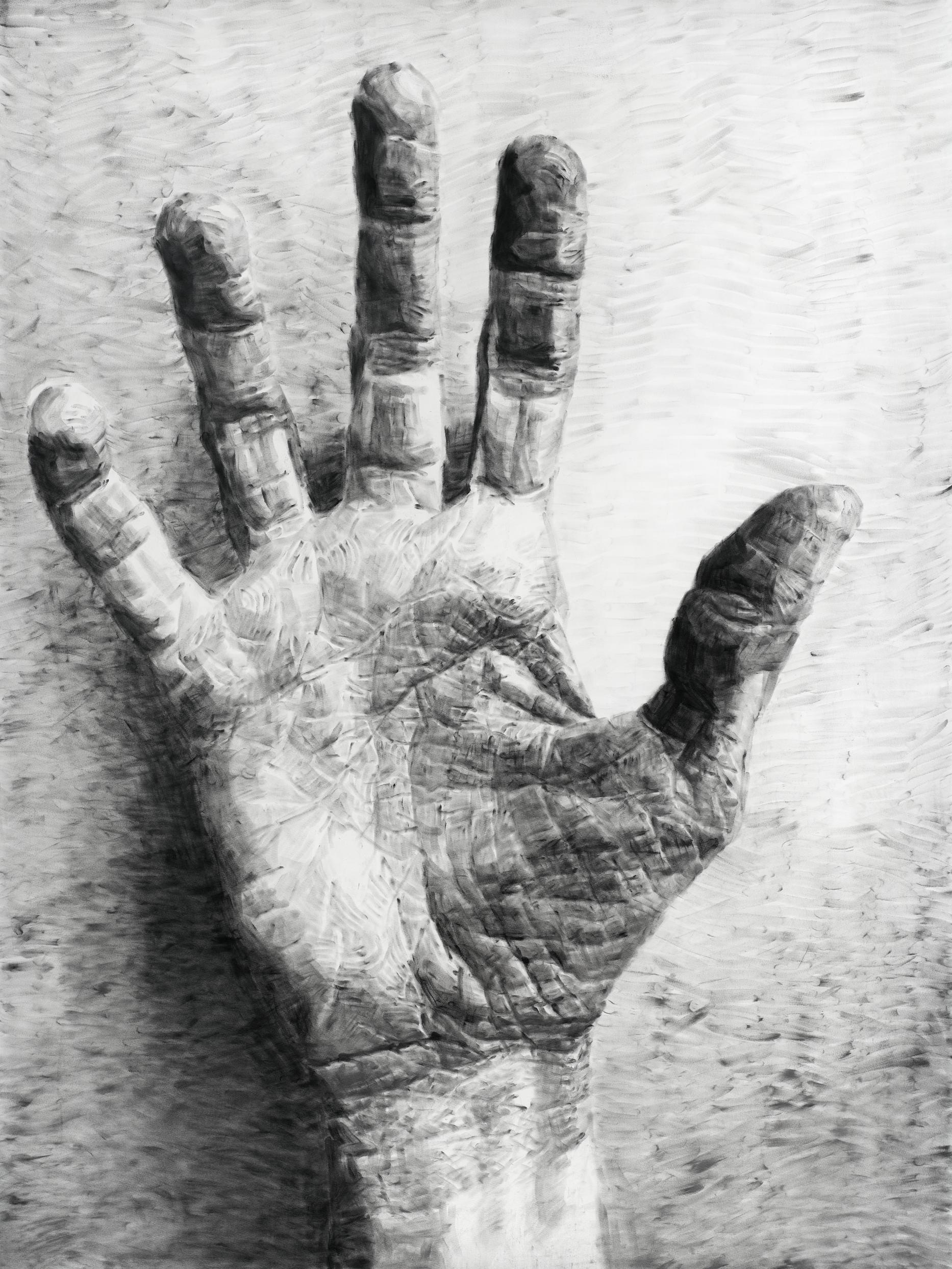 """Jérôme Zonder, """"Portrait de main 6"""", poudre de graphite et poudre de fusain sur papier, 200x150 cm, 2018."""