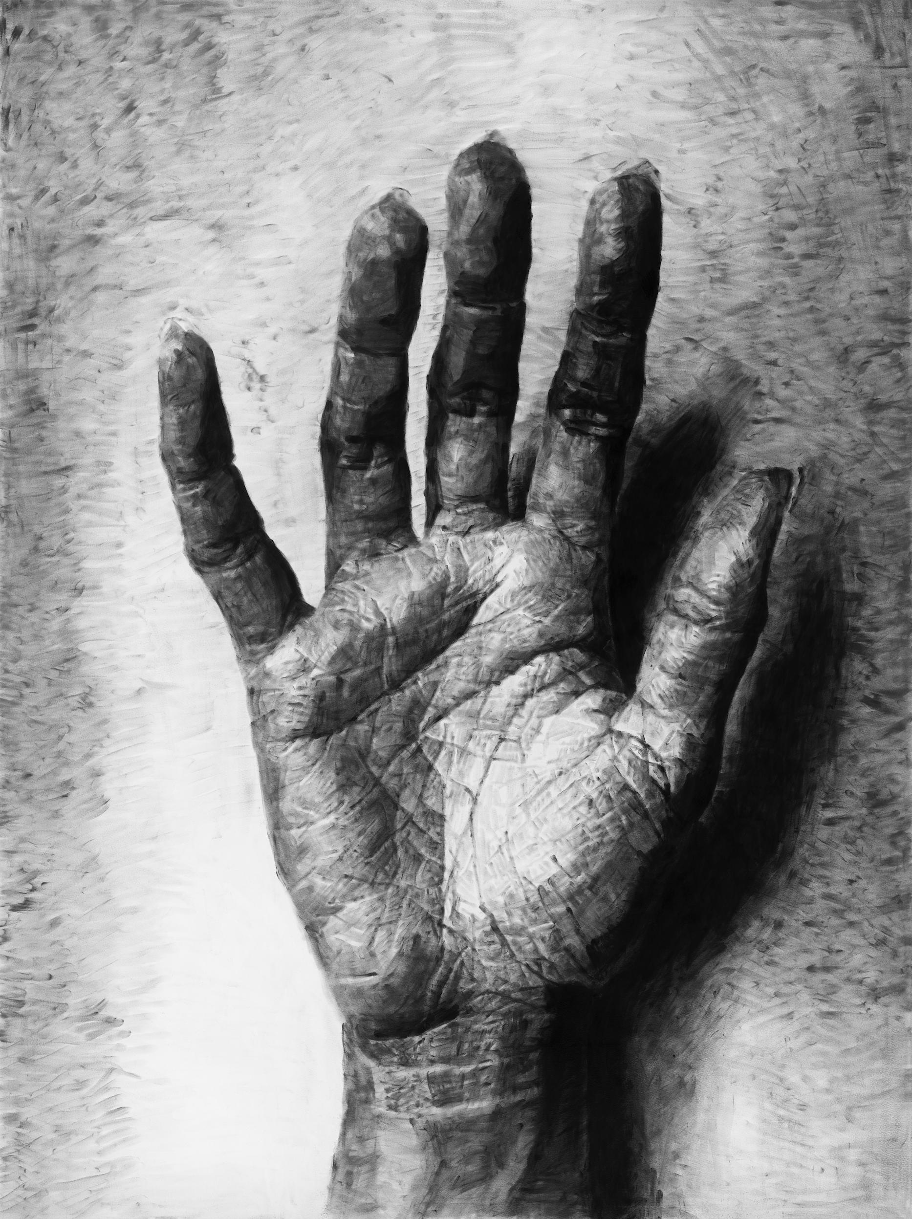 """Jérôme Zonder, """"Portrait de main 5"""", poudre de graphite et poudre de fusain sur papier, 200x150 cm, 2018."""