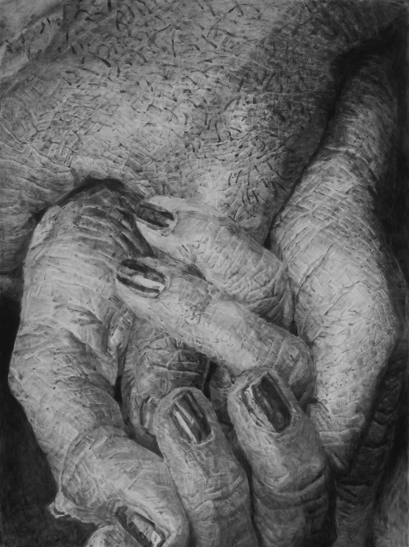 """Jérôme Zonder, """"Portrait de main 7"""", poudre de graphite et poudre de fusain sur papier, 200x150 cm, 2018."""