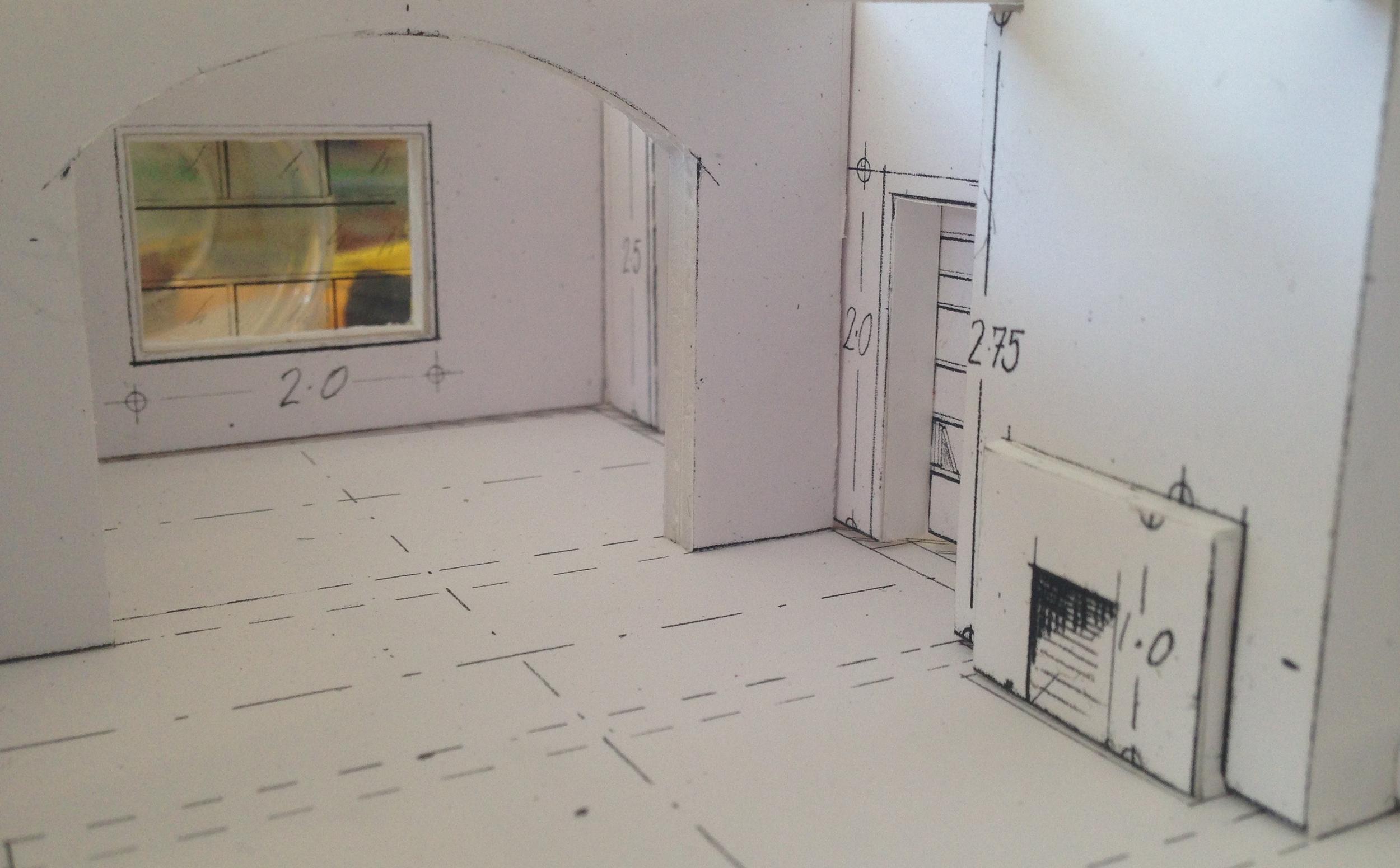 Interior of Modernist Apartment, foam board model