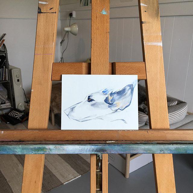 Lurcher Oil on board . . . #lurcher #sighthound #animalportraits #newwork #oldjet #suffolk #londonart #british #swedish #england #sweden