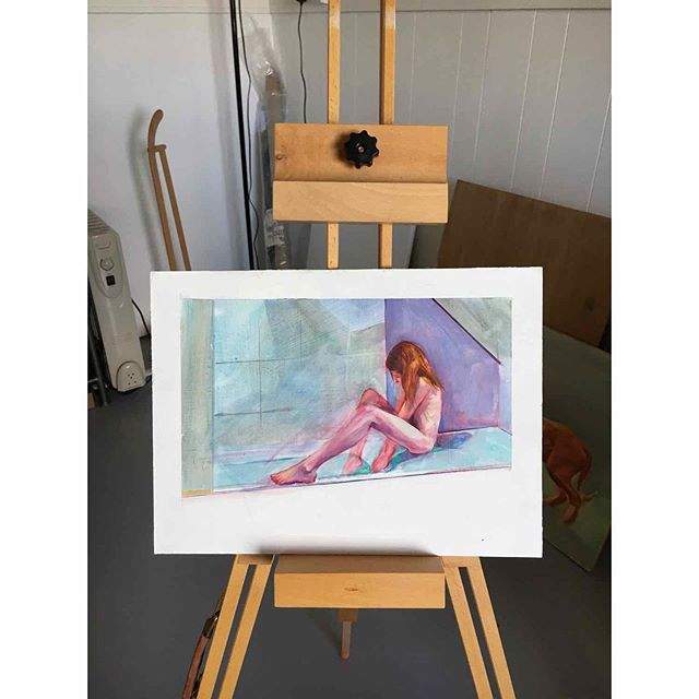 A lite sketch. . . . #bathtime #oilonboard #sketching #painting #oljemålningarombord #newwork #suffolk #londoncity #british #swedish #contemporaryartists