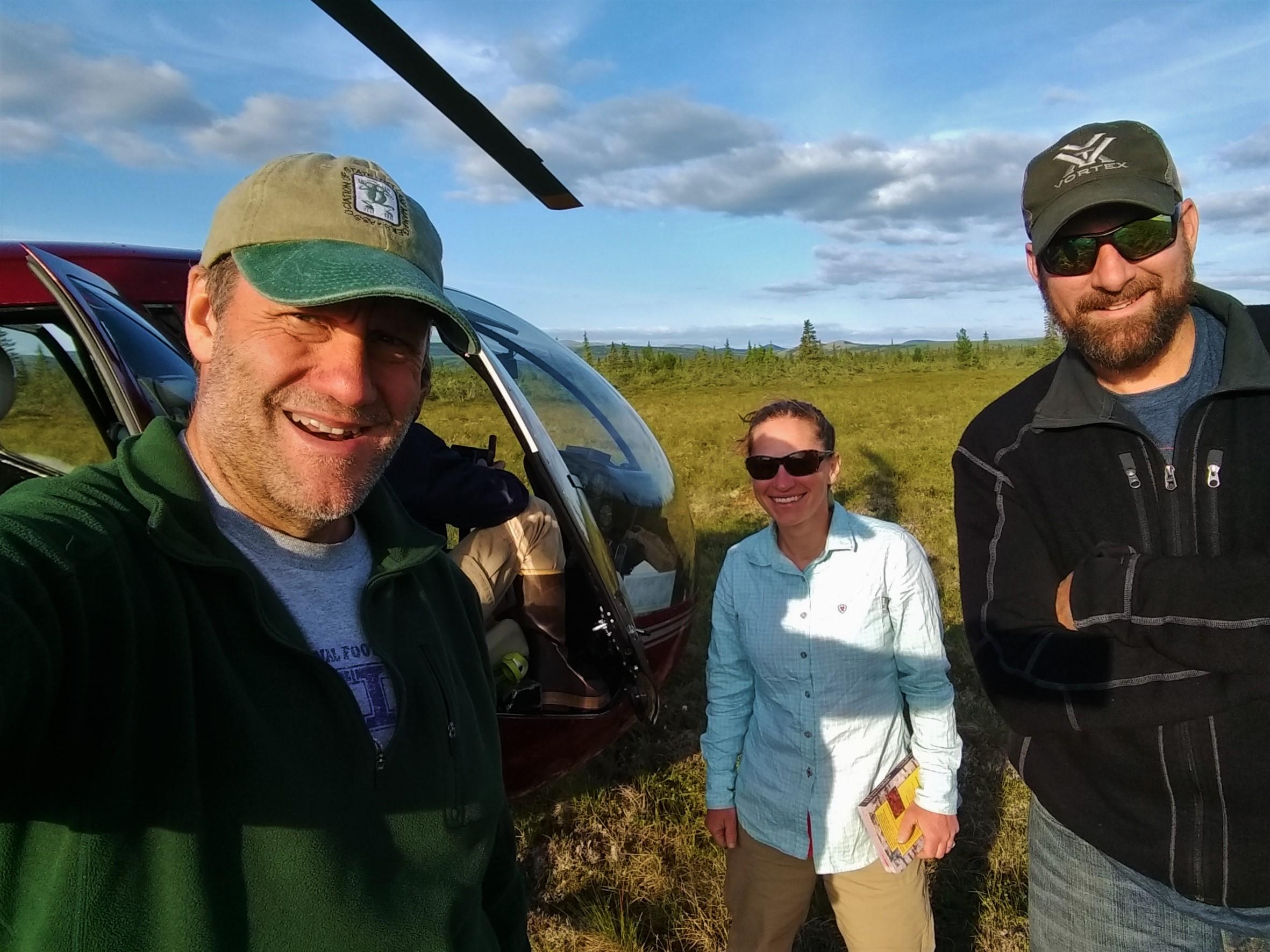 Andy Robertson (left, Saint Mary's University), Elizabeth Powers (middle, U.S. Fish & Wildlife Service - Alaska), and Kevin Stark (right, Saint Mary's University of Minnesota).  Photo Credit: Andy Robertson