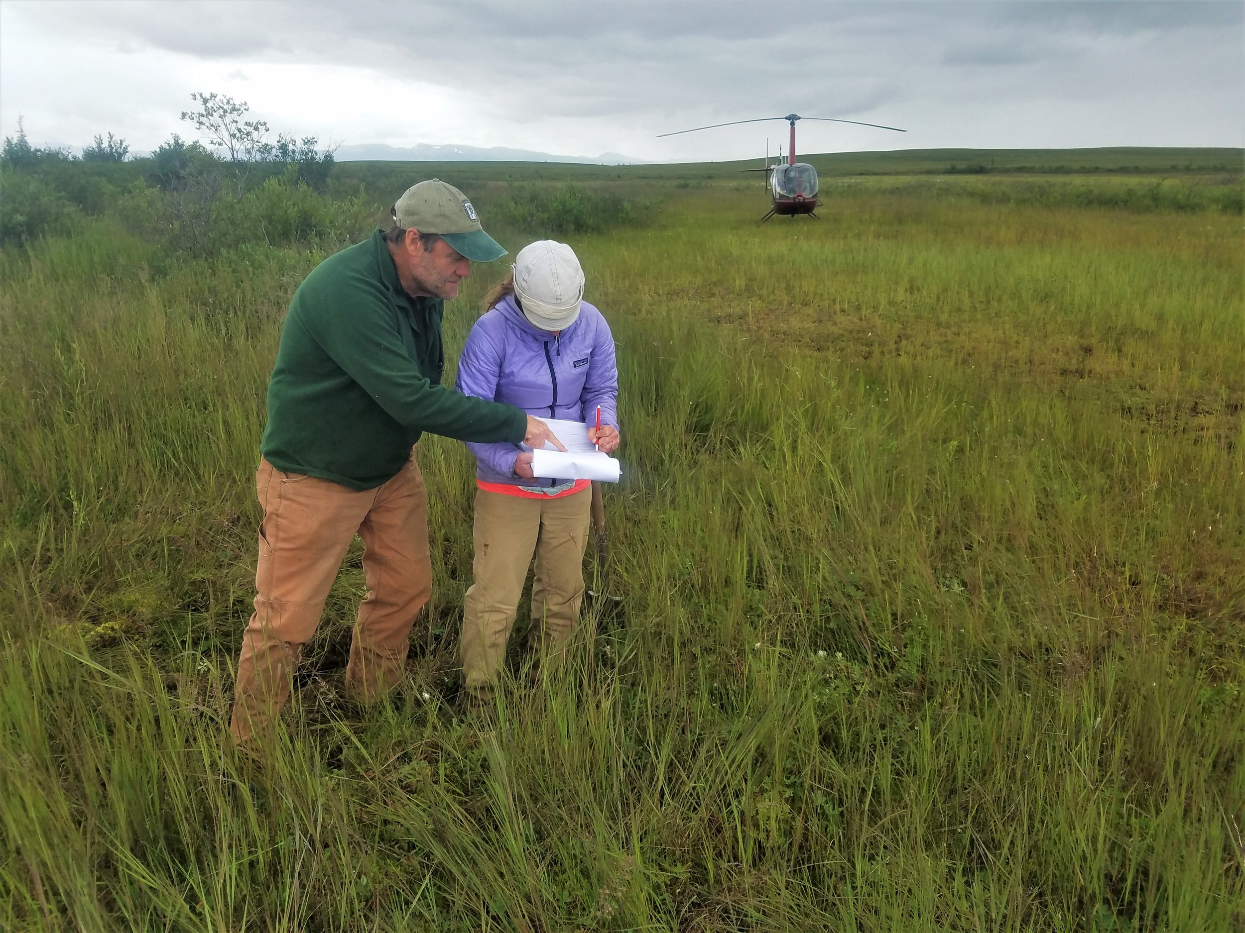 Andy Robertson (left) and Elizabeth Powers (right) taking field notes on dominant hydrophytic vegeation, landforms, and other site observations . Photo Credit: Kevin Stark