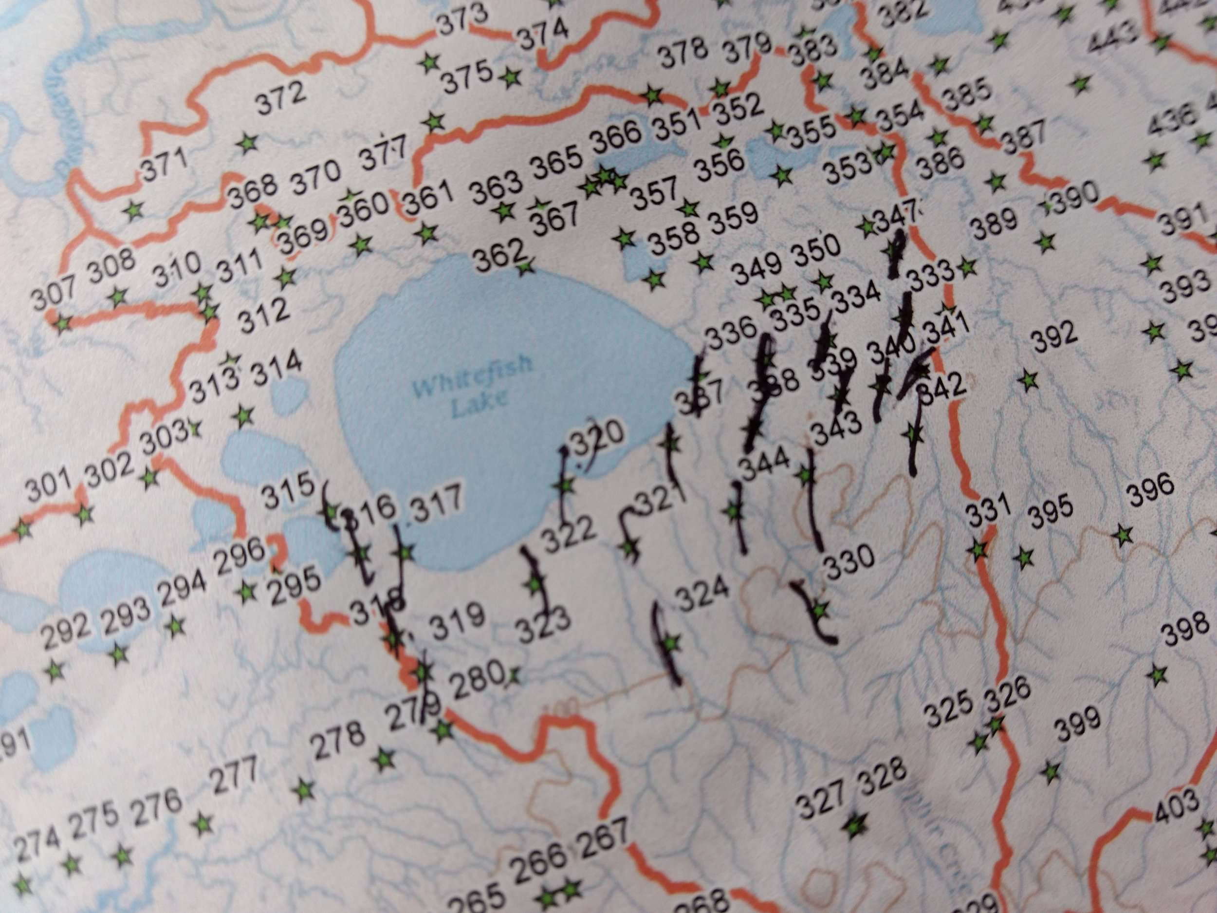 An overview mapped used as flight path planning and inventory of visited sample sites.  Photo Credit: Andy Robertson