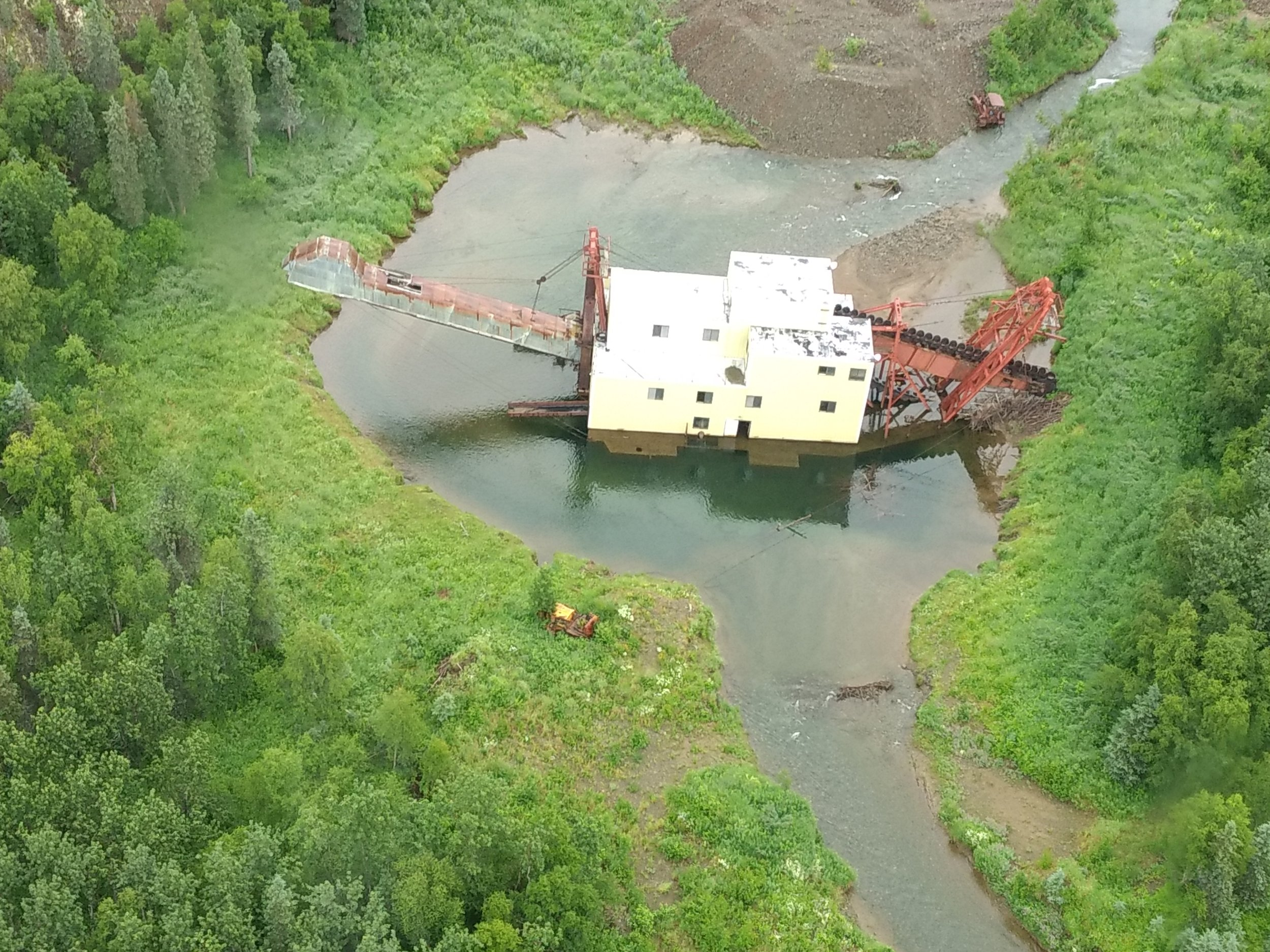 The abandoned Nyac Gold Mining Dredge.  Photo Credit: Andy Roberson
