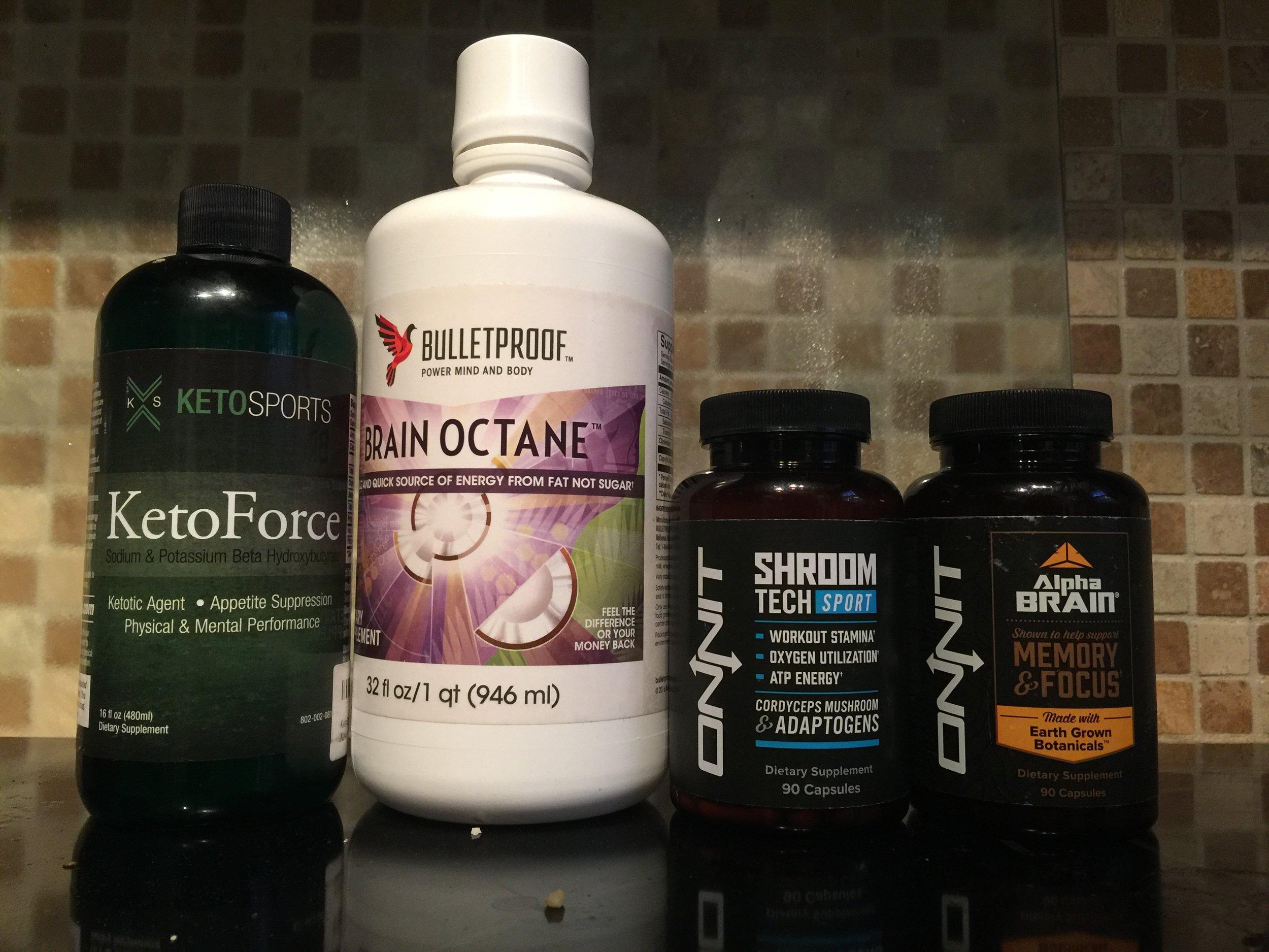 Keto Force (Beta Hydroxybutyrate), Brain Octane MCT oil, Shroom Tech Sport, Alpha Brain