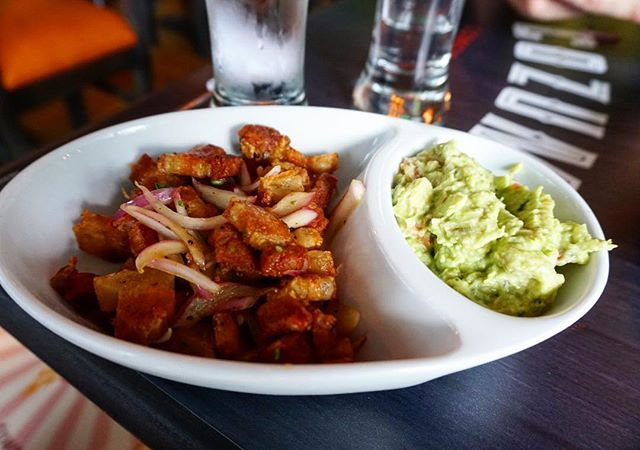 Down the keto hole we go . .  Chicharrones with a side of guac