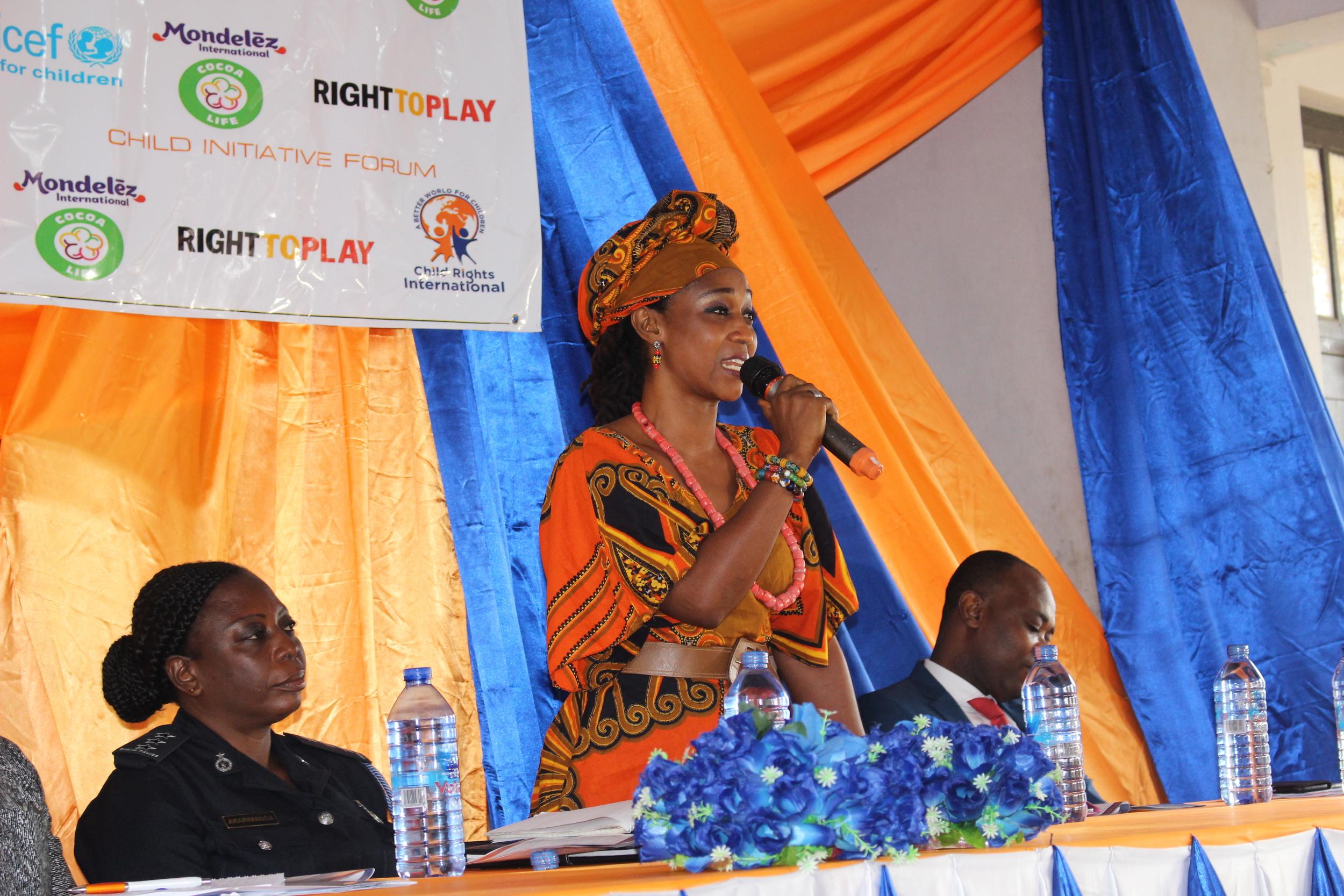 Mrs. Barbara Asheley Ayesi addresses the children at the Child Initiative Forum  Photo by Stephanie Gasana